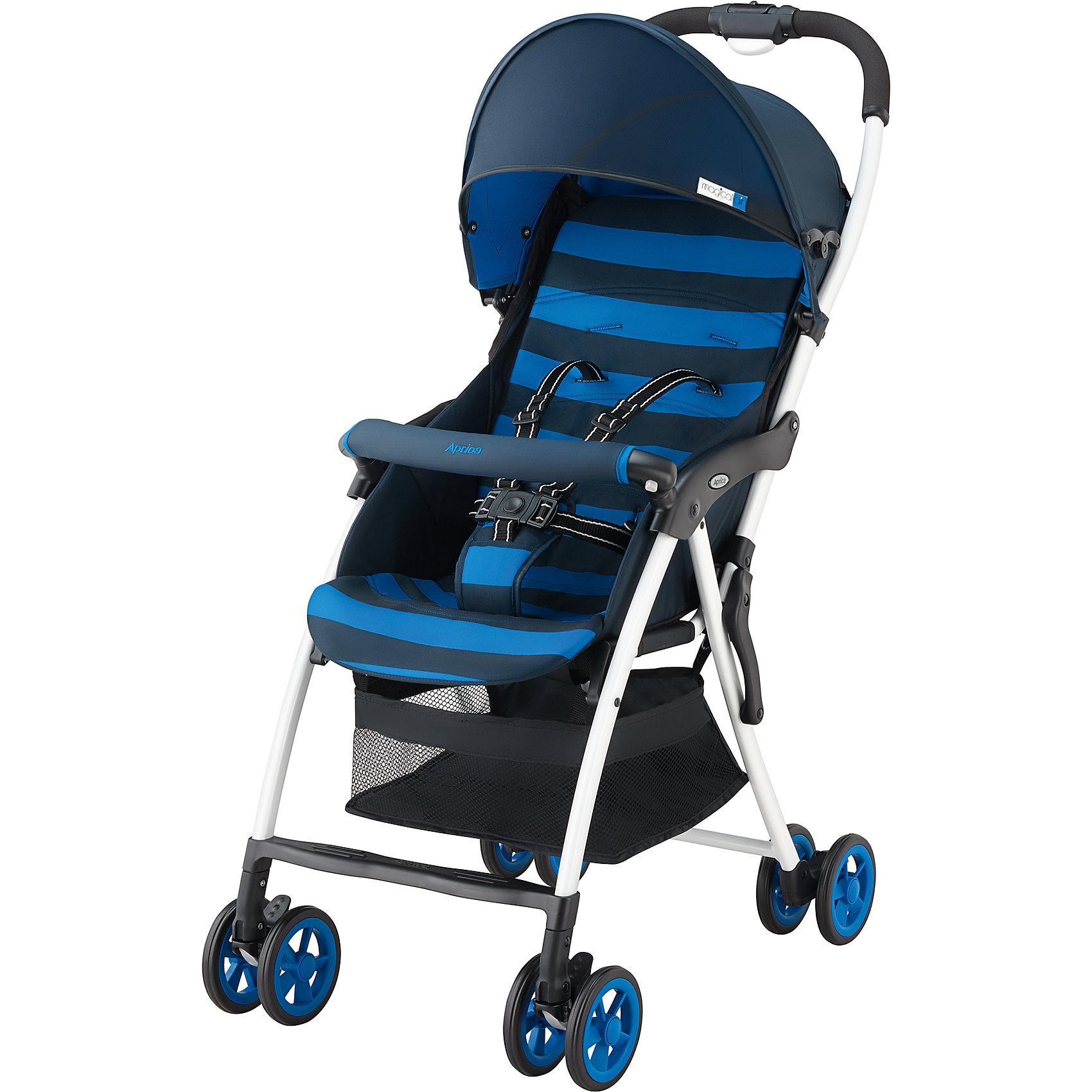 Прогулочная коляска Magical Air, Aprica, синийСупер легкая коляска прекрасно подойдет для отпуска, прогулок и шопинга.<br><br>Дополнительная информация:<br><br>Уникально малый вес – всего 2,8 кг<br>Коляска  легко складывается и раскладывается одним нажатием кнопки<br>Очень компактна в сложенном виде<br>Прочная рама дает возможность длительного использования<br>Солнцезащитный козырек защищает от УФ лучей<br>Удобный съемный бампер<br>Просторное, широкое сидение <br>Сдвоенные пары колес<br>верхняя часть матрасика на молнии (легко снимается и стирается при 30 град. С)<br>3D колеса увеличенного диаметра и ширины<br>Комплектация: Прогулочный блок, Рама, 5-точечные внутренние ремни<br>Вес ребенка: до 15 кг<br>Тип складывания«книжка»<br>Регулировка спинки: есть, 118-135°<br>Горизонтальное положение спинки: нет<br>Перекидная ручка: нет<br>Внутренние ремни: есть, 5-точечные<br>Съемные подушки: да, можно стирать<br>Корзина для вещей сетчатая<br>Размеры в разложенном виде (Ш?Д?В)46?80?97 см<br>Размеры в сложенном виде (Ш?Д?В)46?27?97 см<br>Внутренняя ширина сидения 32 см<br><br>Прогулочную коляску Magical Air, Aprica, синего цвета можно купить в нашем магазине.<br><br>Ширина мм: 970<br>Глубина мм: 470<br>Высота мм: 270<br>Вес г: 4900<br>Цвет: синий<br>Возраст от месяцев: 6<br>Возраст до месяцев: 36<br>Пол: Унисекс<br>Возраст: Детский<br>SKU: 4639434