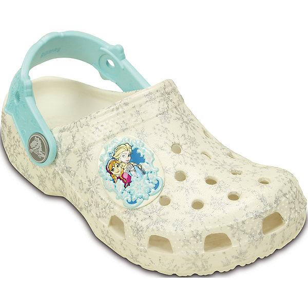 Сабо Classic Frozen Clog K CrocsПляжная обувь<br>Характеристики товара:<br><br>• цвет: белый<br>• материал: 100% полимер Croslite™<br>• литая модель<br>• вентиляционные отверстия<br>• бактериостатичный материал<br>• пяточный ремешок фиксирует стопу<br>• толстая устойчивая подошва<br>• отверстия для использования украшений<br>• анатомическая стелька с массажными точками стимулирует кровообращение<br>• страна бренда: США<br>• страна изготовитель: Китай<br><br>Для правильного развития ребенка крайне важно, чтобы обувь была удобной. Такие сабо обеспечивают детям необходимый комфорт, а анатомическая стелька с массажными линиями для стимуляции кровообращения позволяет ножкам дольше не уставать. Сабо легко надеваются и снимаются, отлично сидят на ноге. Материал, из которого они сделаны, не дает размножаться бактериям, поэтому такая обувь препятствует образованию неприятного запаха и появлению болезней стоп. <br>Обувь от американского бренда Crocs в данный момент завоевала широкую популярность во всем мире, и это не удивительно - ведь она невероятно удобна. Её носят врачи, спортсмены, звёзды шоу-бизнеса, люди, которым много времени приходится бывать на ногах - они понимают, как важна комфортная обувь. Продукция Crocs - это качественные товары, созданные с применением новейших технологий. Обувь отличается стильным дизайном и продуманной конструкцией. Изделие производится из качественных и проверенных материалов, которые безопасны для детей.<br><br>Сабо Classic Frozen Clog K от торговой марки Crocs можно купить в нашем интернет-магазине.<br><br>Ширина мм: 225<br>Глубина мм: 139<br>Высота мм: 112<br>Вес г: 290<br>Цвет: белый<br>Возраст от месяцев: -2147483648<br>Возраст до месяцев: 2147483647<br>Пол: Женский<br>Возраст: Детский<br>Размер: 21/22,27/28,34/35,29/30,29/30,23/24,25/26,33/34,31/32<br>SKU: 4639494