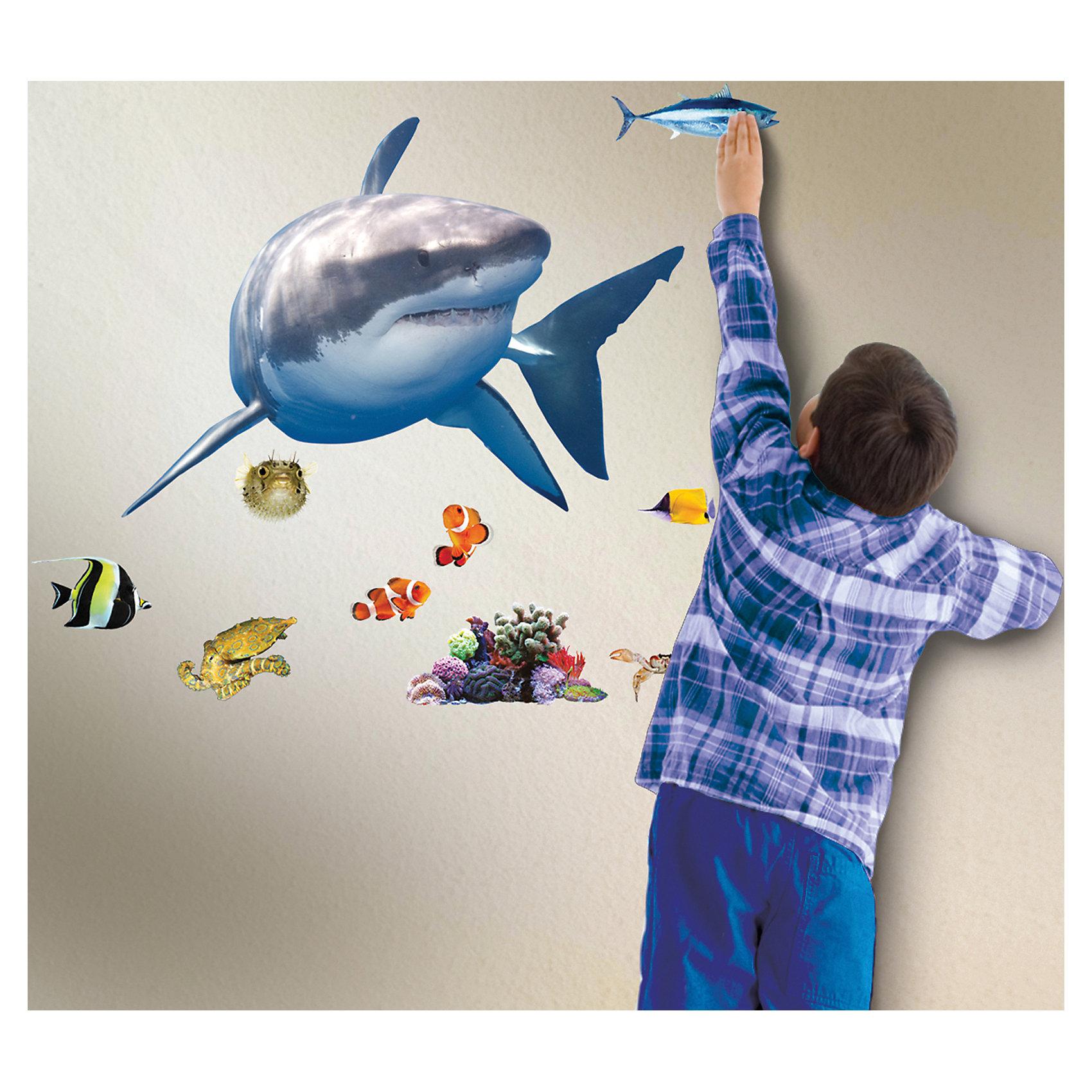 Настенный проектор Встреча с белой акулойЛампы, ночники, фонарики<br>Настенный проектор Встреча с белой акулой – это проектор с реалистичными звуковыми и световыми эффектами погружения на дно океана.<br>Настенный проектор «Встреча с белой акулой» освежит интерьер детской комнаты и в интересной форме познакомит ребенка с обитателями морской пучины! Проектор состоит из двух частей: активатора и многоразовых наклеек. Красочные наклейки можно размещать многократно в разных комбинациях на стене комнаты. Для достижения четкого и яркого изображения необходимо закрепить активатор на расстоянии 1-1,5 метра от пола и создать в комнате полную темноту. Активатор не только осветит небольшой участок помещения, но и с помощью мерцающего голубого свечения, уникальных реалистичных звуков морских глубин и визуального видения морских обитателей, позволит почувствовать себя на дне океана. Функционирует в двух режимах: свет и звук или только свет (переключаются вручную кнопкой). Отключаться проектор может автоматически после 5, 10 или 20 минут непрерывной работы.<br><br>Дополнительная информация:<br><br>- Возраст: 5+<br>- В комплекте: активатор, красочные наклейки с изображением различных видов морских обитателей, инструкция<br>- Диаметр светового эффекта: 6,9 м?<br>- Длина наклейки с акулой: 60,96 см.<br>- Батарейки: 3 типа АА (входят в комплект)<br>- Размер упаковки: 8х41х25 см.<br>- Вес: 600 гр.<br><br>Настенный проектор Встреча с белой акулой можно купить в нашем интернет-магазине.<br><br>Ширина мм: 8<br>Глубина мм: 41<br>Высота мм: 25<br>Вес г: 600<br>Возраст от месяцев: 60<br>Возраст до месяцев: 168<br>Пол: Унисекс<br>Возраст: Детский<br>SKU: 4639624