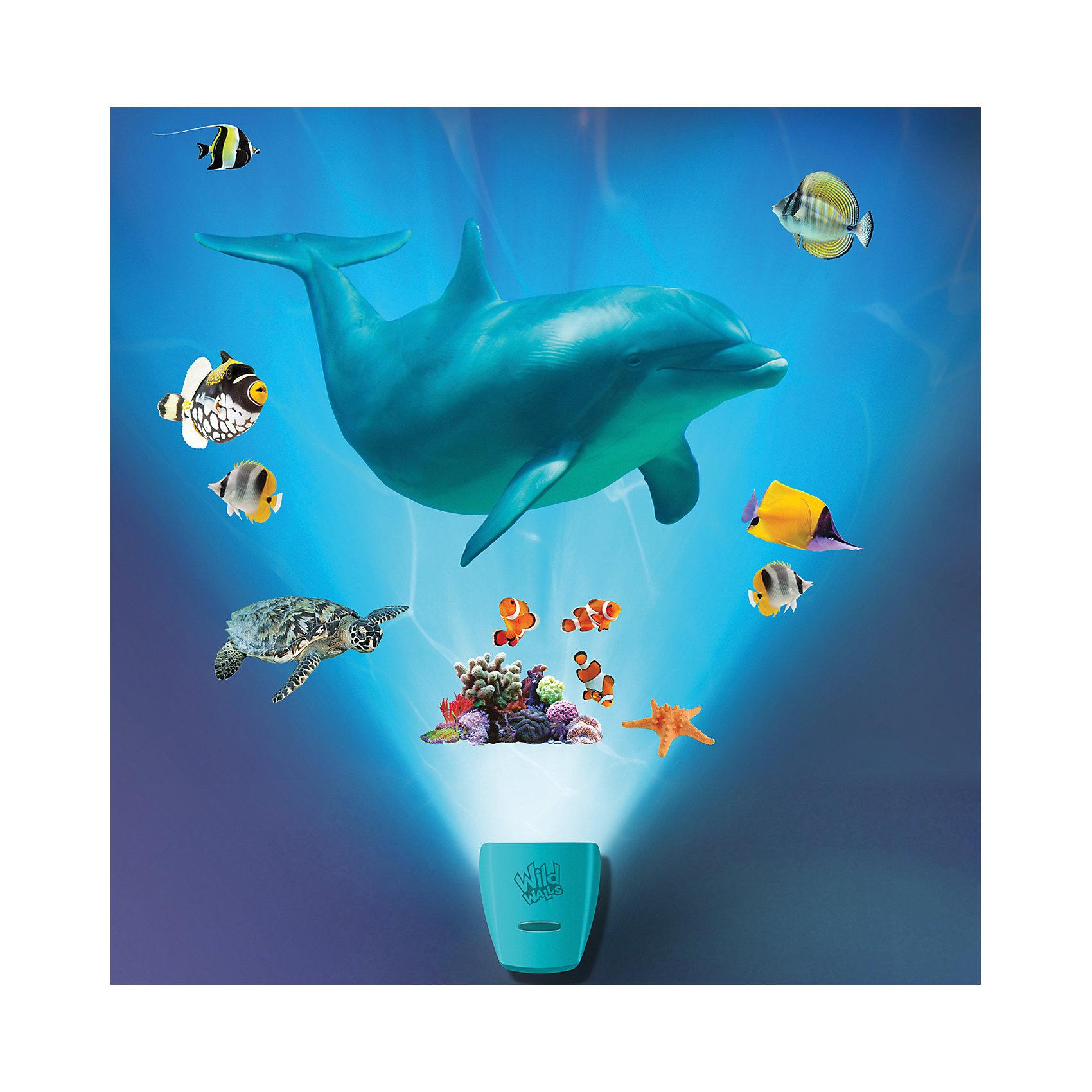Настенный проектор Путешествие с дельфиномНастенный проектор Путешествие с дельфином – это проектор с реалистичными звуковыми и световыми эффектами погружения на дно океана.<br>Настенный проектор «Путешествие с дельфином» освежит интерьер детской комнаты и в интересной форме познакомит ребенка с обитателями морской пучины! Проектор состоит из двух частей: активатора и многоразовых наклеек. Красочные наклейки можно размещать многократно в разных комбинациях на стене комнаты. Для достижения четкого и яркого изображения необходимо закрепить активатор на расстоянии 1-1,5 метра от пола и создать в комнате полную темноту. Активатор не только осветит небольшой участок помещения, но и с помощью мерцающего голубого свечения, уникальных реалистичных звуков имитирующих всплеск волн и голоса дельфинов, и визуального видения морских обитателей, позволит почувствовать себя на дне океана. Функционирует в двух режимах: свет и звук или только свет (переключаются вручную кнопкой). Отключаться проектор может автоматически после 5, 10 или 20 минут непрерывной работы.<br><br>Дополнительная информация:<br><br>- Возраст: 5+<br>- В комплекте: активатор, красочные наклейки с изображением различных видов морских обитателей, инструкция<br>- Диаметр светового эффекта: 6,9 м?<br>- Длина наклейки с акулой: 60,96 см.<br>- Батарейки: 3 типа АА (входят в комплект)<br>- Размер упаковки: 8х41х25 см.<br>- Вес: 600 гр.<br><br>Настенный проектор Путешествие с дельфином можно купить в нашем интернет-магазине.<br><br>Ширина мм: 8<br>Глубина мм: 41<br>Высота мм: 25<br>Вес г: 600<br>Возраст от месяцев: 60<br>Возраст до месяцев: 168<br>Пол: Унисекс<br>Возраст: Детский<br>SKU: 4639625