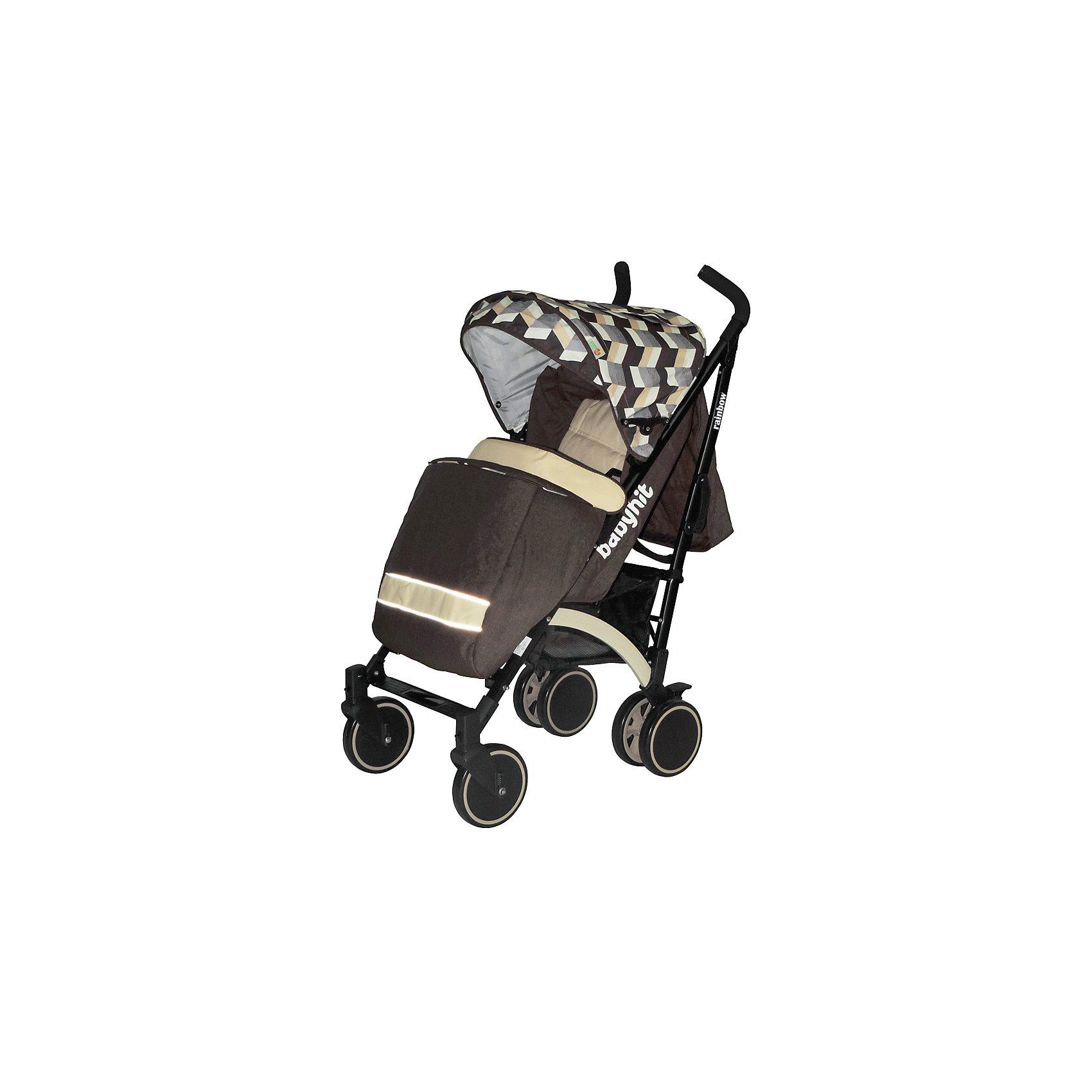 Коляска-трость BabyHit RAINBOW, бежевый/коричневыйКоляски-трости<br>Дополнительная информация:<br><br>Прогулочная коляска-трость предназначена для детей от 6-ти месяцев до 3-х лет.<br>Спинка сиденья регулируется в 3-х положениях для комфортного отдыха ребенка.<br>5-ти точечные ремни безопасности с мягкими плечевыми накладками и паховый ремень надежно удержат малыша на прогулке.<br>Бампер предназначен для дополнительной безопасности, снимается при необходимости.<br>Подножка регулируемая.<br>Капюшон-батискаф опускается до бампера.<br>Передние поворотные колеса с возможностью фиксации в положении прямо.<br>Все колеса амортизированы.<br>В сложенном виде коляску легко переносить с помощью удобной ручки.<br>Коляска автоматически блокируется при складывании.<br>Корзинка для покупок расположена в нижней части коляски.<br>Размеры коляски в разложенном виде: 85/43/108 см.<br>Ширина сиденья: 35 см.<br>Высота спинки: 47 см.<br>Глубина сиденья: 25 см.<br>Длина подножки: 13 см.<br>Размер спального места при поднятой подножке - 85 х 35 см.  <br>Диаметр колес: 18 см.<br>Вес коляски - 7,4 кг.<br>В комплекте:<br>Чехол для ножек. <br>Дождевик.<br>Москитная сетка.<br>Корзинка для покупок.<br>Сумка (нет в комплекте у колясок в расцветках: бежевый, голубой, малиновый). <br><br><br><br>Коляску-трость RAINBOW, BabyHit, бежевый/коричневый можно купить в нашем магазине.<br><br>Ширина мм: 260<br>Глубина мм: 250<br>Высота мм: 900<br>Вес г: 8700<br>Цвет: бежевый/коричневый<br>Возраст от месяцев: 6<br>Возраст до месяцев: 36<br>Пол: Унисекс<br>Возраст: Детский<br>SKU: 4640317