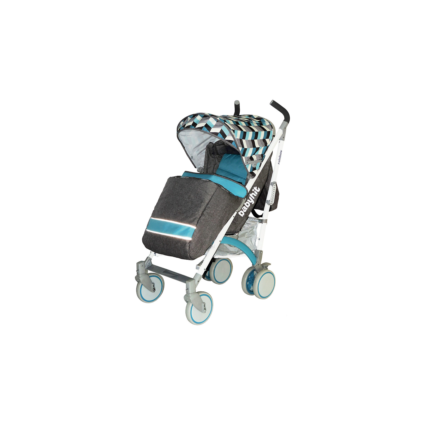 Коляска-трость BabyHit Rainbow, голубой/серыйКоляски-трости<br>Дополнительная информация:<br><br>Прогулочная коляска-трость предназначена для детей от 6-ти месяцев до 3-х лет.<br>Спинка сиденья регулируется в 3-х положениях для комфортного отдыха ребенка.<br>5-ти точечные ремни безопасности с мягкими плечевыми накладками и паховый ремень надежно удержат малыша на прогулке.<br>Бампер предназначен для дополнительной безопасности, снимается при необходимости.<br>Подножка регулируемая.<br>Капюшон-батискаф опускается до бампера.<br>Передние поворотные колеса с возможностью фиксации в положении прямо.<br>Все колеса амортизированы.<br>В сложенном виде коляску легко переносить с помощью удобной ручки.<br>Коляска автоматически блокируется при складывании.<br>Корзинка для покупок расположена в нижней части коляски.<br>Размеры коляски в разложенном виде: 85/43/108 см.<br>Ширина сиденья: 35 см.<br>Высота спинки: 47 см.<br>Глубина сиденья: 25 см.<br>Длина подножки: 13 см.<br>Размер спального места при поднятой подножке - 85 х 35 см.  <br>Диаметр колес: 18 см.<br>Вес коляски - 7,4 кг.<br>В комплекте:<br>Чехол для ножек. <br>Дождевик.<br>Москитная сетка.<br>Корзинка для покупок.<br>Сумка (нет в комплекте у колясок в расцветках: бежевый, голубой, малиновый). <br><br><br><br>Коляску-трость RAINBOW, BabyHit, голубой/серый можно купить в нашем магазине.<br><br>Ширина мм: 260<br>Глубина мм: 250<br>Высота мм: 900<br>Вес г: 8700<br>Цвет: сине-серый<br>Возраст от месяцев: 6<br>Возраст до месяцев: 36<br>Пол: Мужской<br>Возраст: Детский<br>SKU: 4640318