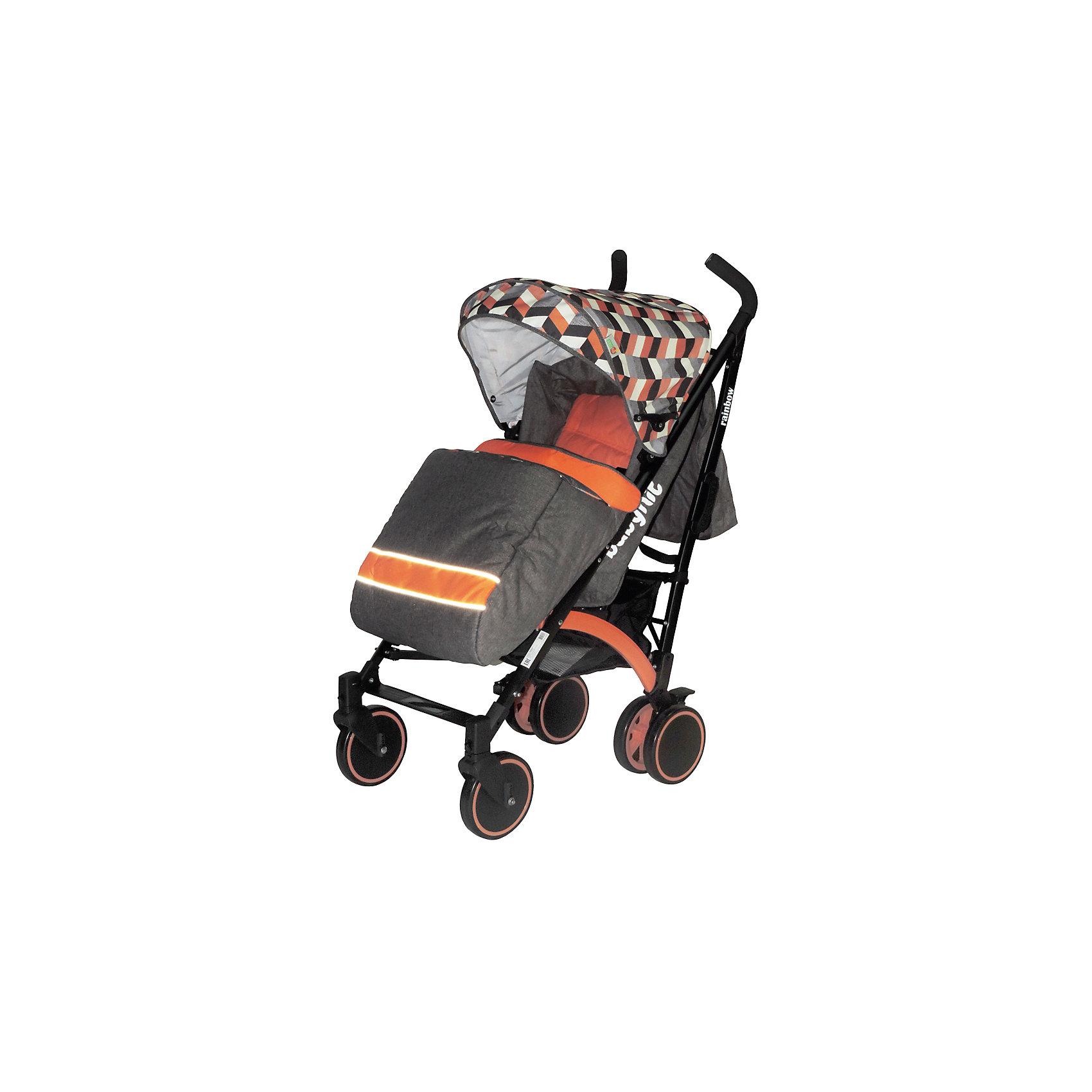 Коляска-трость BabyHit Rainbow, оранжевый/серыйКоляски-трости<br>Дополнительная информация:<br><br>Прогулочная коляска-трость предназначена для детей от 6-ти месяцев до 3-х лет.<br>Спинка сиденья регулируется в 3-х положениях для комфортного отдыха ребенка.<br>5-ти точечные ремни безопасности с мягкими плечевыми накладками и паховый ремень надежно удержат малыша на прогулке.<br>Бампер предназначен для дополнительной безопасности, снимается при необходимости.<br>Подножка регулируемая.<br>Капюшон-батискаф опускается до бампера.<br>Передние поворотные колеса с возможностью фиксации в положении прямо.<br>Все колеса амортизированы.<br>В сложенном виде коляску легко переносить с помощью удобной ручки.<br>Коляска автоматически блокируется при складывании.<br>Корзинка для покупок расположена в нижней части коляски.<br>Размеры коляски в разложенном виде: 85/43/108 см.<br>Ширина сиденья: 35 см.<br>Высота спинки: 47 см.<br>Глубина сиденья: 25 см.<br>Длина подножки: 13 см.<br>Размер спального места при поднятой подножке - 85 х 35 см.  <br>Диаметр колес: 18 см.<br>Вес коляски - 7,4 кг.<br>В комплекте:<br>Чехол для ножек. <br>Дождевик.<br>Москитная сетка.<br>Корзинка для покупок.<br>Сумка (нет в комплекте у колясок в расцветках: бежевый, голубой, малиновый).<br><br>Коляску-трость RAINBOW, BabyHit, оранжевый можно купить в нашем магазине.<br><br>Ширина мм: 260<br>Глубина мм: 250<br>Высота мм: 900<br>Вес г: 8700<br>Цвет: оранжевый<br>Возраст от месяцев: 6<br>Возраст до месяцев: 36<br>Пол: Унисекс<br>Возраст: Детский<br>SKU: 4640320