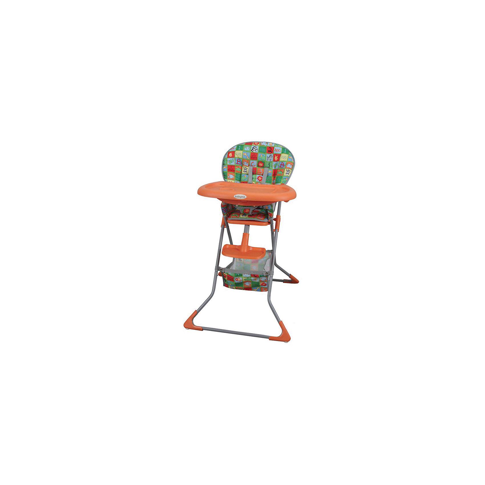 Стульчик для кормления TASTY TIME, BabyHit, оранжевыйСтульчики для кормления<br>Стульчик для кормления Testy Time, BabyHit, обеспечит комфорт и безопасность Вашего малыша во время кормления. Модель отличается легкостью, компактность и привлекательным дизайном с пестрым рисунком. Удобное мягкое сиденье оснащено 5-ти точечными ремнями безопасности, тканевым разделителем и подставкой для ножек. Широкий съемный столик прекрасно подходит для игры и кормления, он легко снимается и может устанавливаться в трех положениях. На поверхности столешницы имеется углубление для кружки или бутылочки. Под сиденьем расположена тканевая корзина для детских принадлежностей. На ножках стула установлены специальные накладки, которые не дают ему скользить. Стульчик компактно складывается и стоит в сложенном виде самостоятельно. Съемный тканевый чехол можно стирать при температуре 30?. <br><br>Дополнительная информация:<br><br>- Цвет: оранжевый.<br>- Материал: пластик, текстиль, полиэстер.<br>- Размер в сложенном виде: 38 x 20 x 62 см.<br>- Вес: 5,1 кг.<br><br>Стульчик для кормления Testy Time, BabyHit, оранжевый, можно купить в нашем интернет-магазине.<br><br>Ширина мм: 380<br>Глубина мм: 200<br>Высота мм: 620<br>Вес г: 6100<br>Цвет: оранжевый<br>Возраст от месяцев: 6<br>Возраст до месяцев: 36<br>Пол: Унисекс<br>Возраст: Детский<br>SKU: 4640322