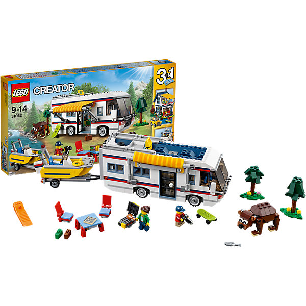 LEGO Creator 31052: КемпингКонструкторы Лего<br>Играть с конструктором обожает множество современных детей, поэтому набор Лего, из которого можно собрать дом на колесах, в котором будет роскошный интерьер с туалетом, складной кроватью, кухней, диваном и телевизором, обязательно обрадует ребенка. Такие игрушки помогают детям развивать воображение, мелкую моторику, логику и творческое мышление.<br>Набор состоит из фигурок людей и деталей, из которых получится дом на колесах. С таким комплектом можно придумать множество игр!<br><br>Дополнительная информация:<br><br>цвет: разноцветный;<br>размер коробки: 54 х 5,9 х 28,2 см;<br>вес: 1363 г;<br>материал: пластик;<br>количество деталей: 792.<br><br>Набор Маяк от бренда LEGO Creator можно купить в нашем магазине.<br><br>Ширина мм: 543<br>Глубина мм: 279<br>Высота мм: 60<br>Вес г: 1380<br>Возраст от месяцев: 108<br>Возраст до месяцев: 168<br>Пол: Унисекс<br>Возраст: Детский<br>SKU: 4641190