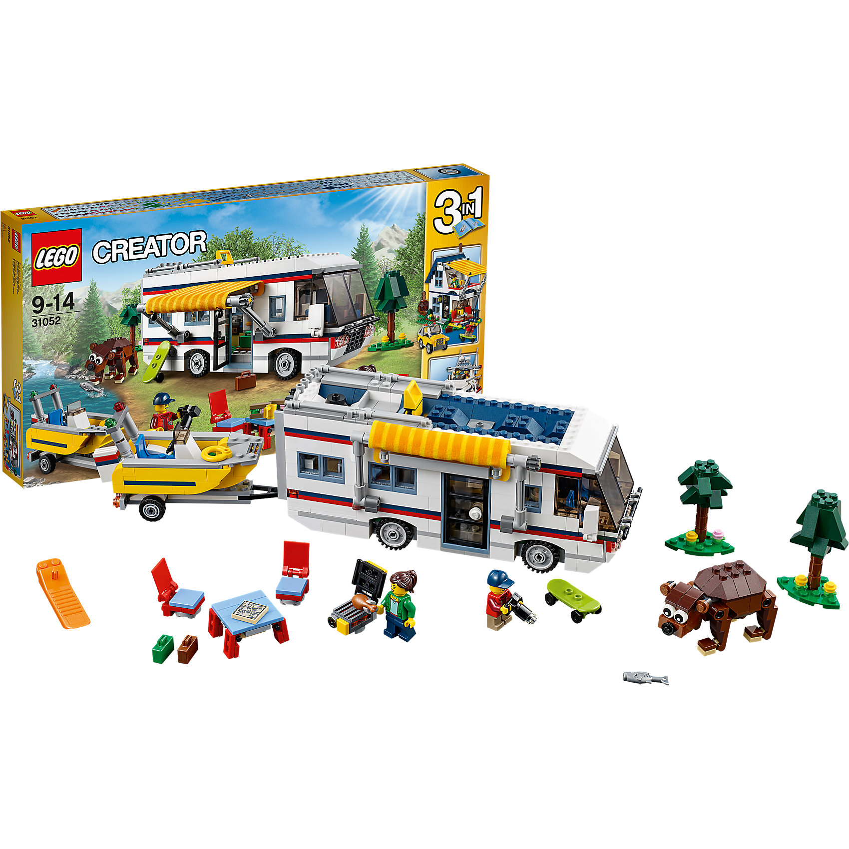 LEGO Creator 31052: КемпингИграть с конструктором обожает множество современных детей, поэтому набор Лего, из которого можно собрать дом на колесах, в котором будет роскошный интерьер с туалетом, складной кроватью, кухней, диваном и телевизором, обязательно обрадует ребенка. Такие игрушки помогают детям развивать воображение, мелкую моторику, логику и творческое мышление.<br>Набор состоит из фигурок людей и деталей, из которых получится дом на колесах. С таким комплектом можно придумать множество игр!<br><br>Дополнительная информация:<br><br>цвет: разноцветный;<br>размер коробки: 54 х 5,9 х 28,2 см;<br>вес: 1363 г;<br>материал: пластик;<br>количество деталей: 792.<br><br>Набор Маяк от бренда LEGO Creator можно купить в нашем магазине.<br><br>Ширина мм: 539<br>Глубина мм: 279<br>Высота мм: 60<br>Вес г: 1382<br>Возраст от месяцев: 108<br>Возраст до месяцев: 168<br>Пол: Унисекс<br>Возраст: Детский<br>SKU: 4641190