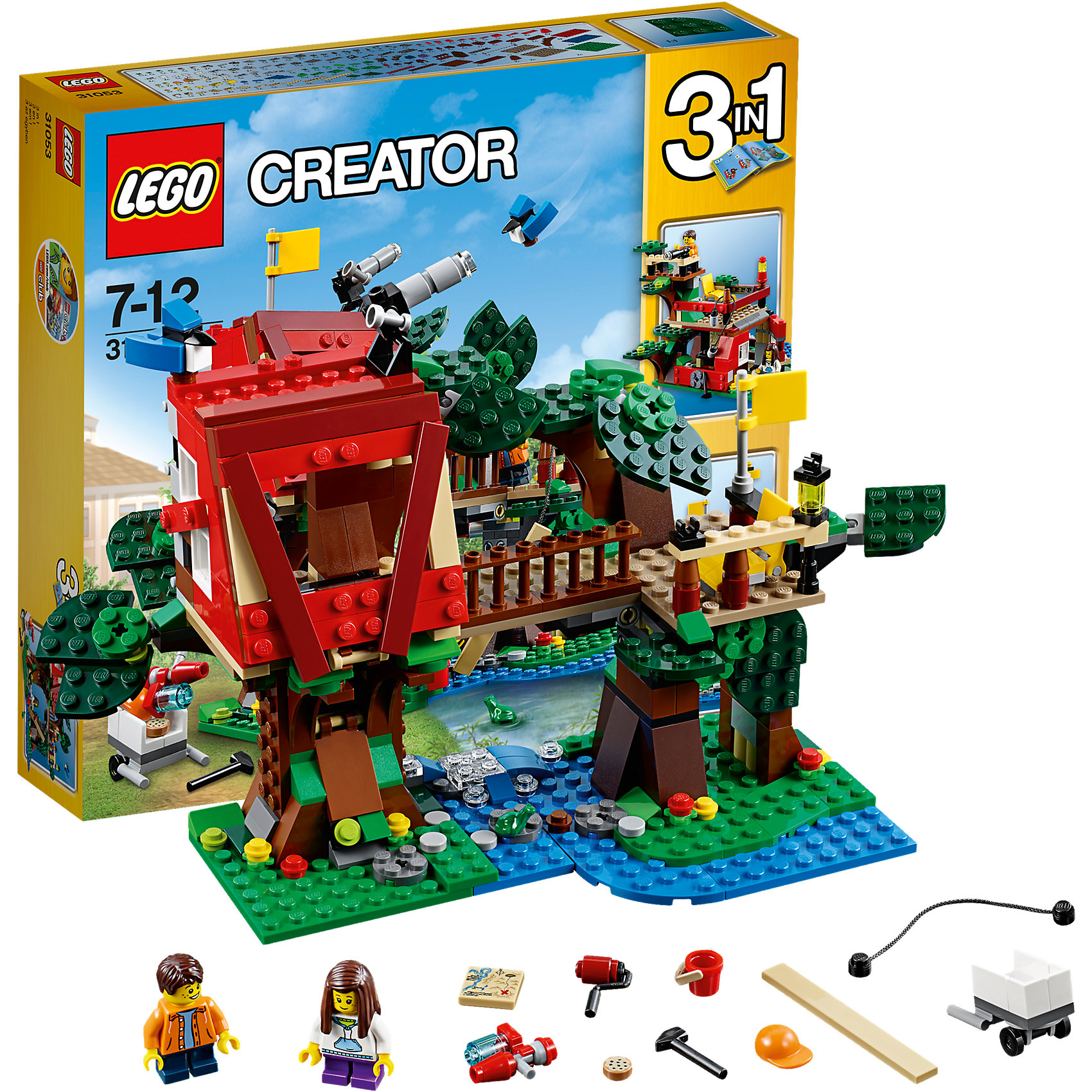 LEGO Creator 31053: Домик на деревеПластмассовые конструкторы<br>Иметь свой домик на дереве и играть с конструктором обожает множество современных детей, поэтому набор Лего, из которого можно собрать этот дом, обязательно обрадует ребенка. Такие игрушки помогают детям развивать воображение, мелкую моторику, логику и творческое мышление.<br>Набор состоит из фигурок людей и деталей, из которых получится дом на дереве, здесь также есть молоток и гвозди, валик с краской,  потайной шкаф, флаг и многое другое. С таким комплектом можно придумать множество игр!<br><br>Дополнительная информация:<br><br>цвет: разноцветный;<br>размер коробки: 28,2 х 5,9 х 26,2 см;<br>вес: 500 г;<br>материал: пластик;<br>количество деталей: 387.<br><br>Набор Домик на дереве от бренда LEGO Creator можно купить в нашем магазине.<br><br>Ширина мм: 284<br>Глубина мм: 261<br>Высота мм: 63<br>Вес г: 683<br>Возраст от месяцев: 84<br>Возраст до месяцев: 144<br>Пол: Унисекс<br>Возраст: Детский<br>SKU: 4641191
