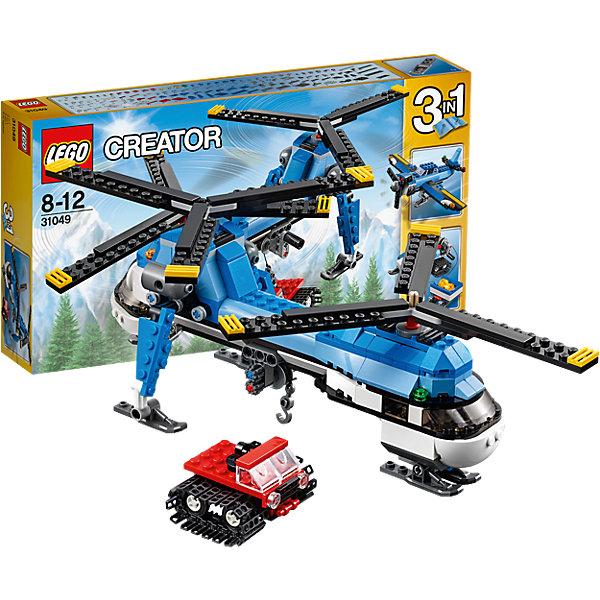 LEGO Creator 31049: Двухвинтовой вертолётКонструкторы Лего<br>Вертолеты и конструкторы обожает множество современных детей, поэтому набор Лего, из которого можно собрать двухвинтовой вертолет, обязательно обрадует ребенка. Такие игрушки помогают детям развивать воображение, мелкую моторику, логику и творческое мышление.<br>Набор состоит из множества деталей, с помощью которых можно сделать не только вертолет! С таким комплектом можно придумать множество игр!<br><br>Дополнительная информация:<br><br>цвет: разноцветный;<br>размер коробки: 35,4 х 5,9 х 19,1 см;<br>вес: 612 г;<br>материал: пластик;<br>количество деталей: 326.<br><br>Набор Двухвинтовой вертолёт от бренда LEGO Creator можно купить в нашем магазине.<br><br>Ширина мм: 354<br>Глубина мм: 195<br>Высота мм: 66<br>Вес г: 556<br>Возраст от месяцев: 96<br>Возраст до месяцев: 144<br>Пол: Мужской<br>Возраст: Детский<br>SKU: 4641192
