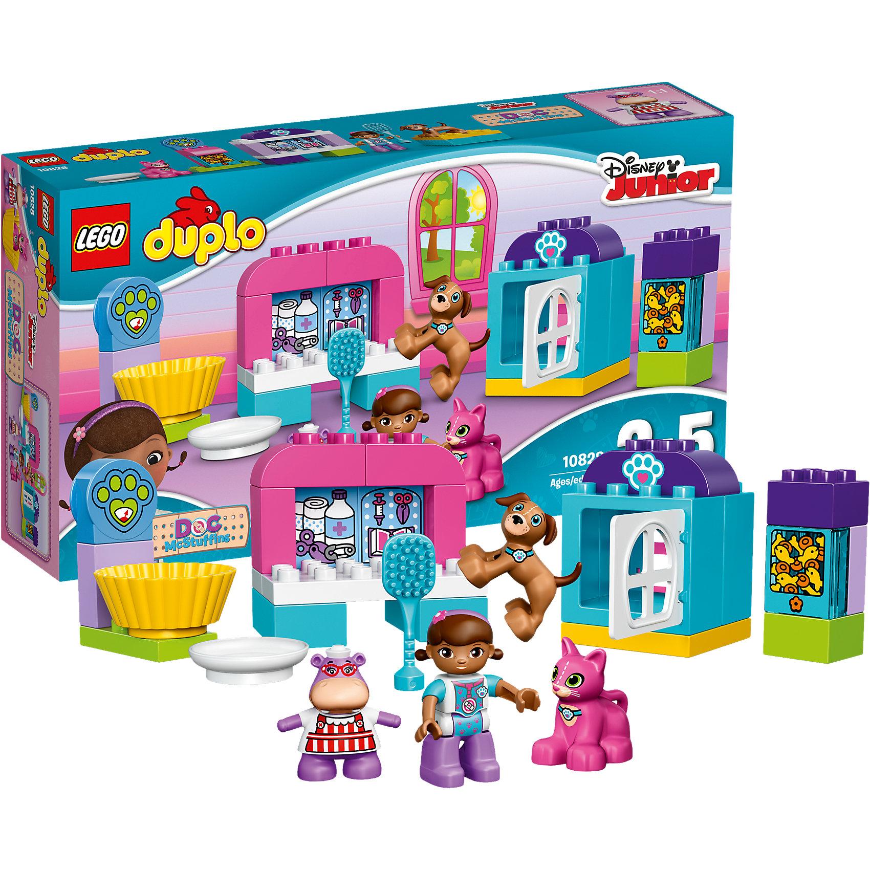 LEGO DUPLO  10828: Ветеринарная клиника доктора ПлюшевойДоктора Плюшеву обожает множество современных детей, поэтому набор Лего, из которого можно собрать ветеринарную клинику, обязательно обрадует ребенка. Такие игрушки помогают детям развивать воображение, мелкую моторику, логику и творческое мышление.<br>Набор состоит из множества деталей, с помощью которых можно сделать клинику для животных, а также в нем есть фигурки любимых персонажей! С таким комплектом можно придумать множество игр!<br><br>Дополнительная информация:<br><br>цвет: разноцветный;<br>размер коробки: 38 x 20 x 7 см;<br>вес: 500 г;<br>материал: пластик;<br>количество деталей: 30.<br><br>Набор Ветеринарная клиника доктора Плюшевой от бренда LEGO DUPLO можно купить в нашем магазине.<br><br>Ширина мм: 356<br>Глубина мм: 190<br>Высота мм: 71<br>Вес г: 417<br>Возраст от месяцев: 24<br>Возраст до месяцев: 60<br>Пол: Женский<br>Возраст: Детский<br>SKU: 4641194