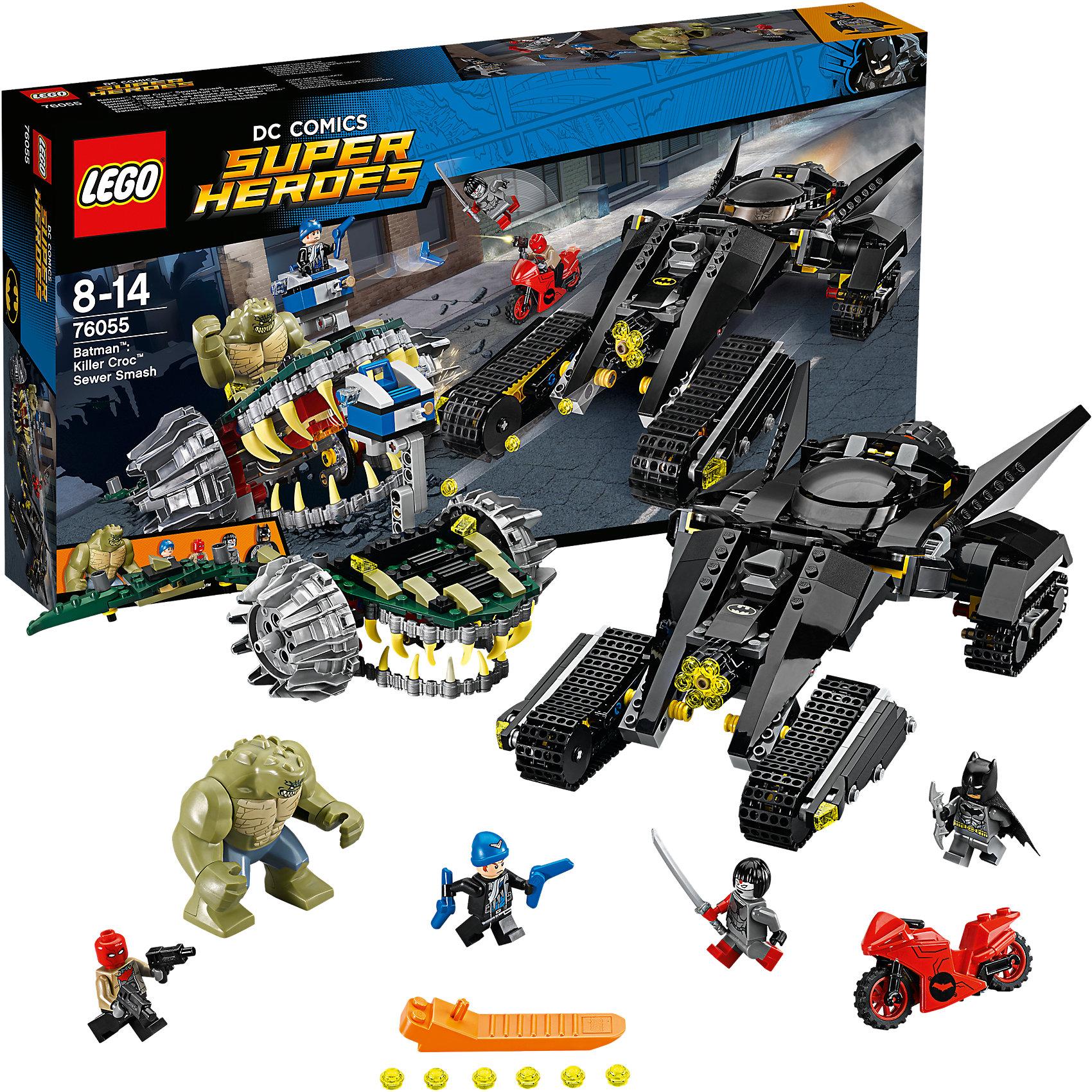 LEGO Super Heroes 76055: Бэтмен: убийца КрокБэтмена обожает множество современных мальчишек, поэтому набор Лего, из которого можно собрать разные сюжеты про его подвиги, обязательно порадует ребенка. Такие игрушки помогают детям развивать воображение, мелкую моторику, логику и творческое мышление.<br>Набор состоит из множества деталей, с помощью которых можно  собрать транспорт для супергероя, а также в нем есть фигурки любимых персонажей! С таким комплектом можно придумать множество игр!<br><br>Дополнительная информация:<br><br>цвет: разноцветный;<br>размер коробки: 8 x 54 x 28 см;<br>вес: 1000 г;<br>материал: пластик;<br>количество деталей: 759.<br><br>Набор Бэтмен: убийца Крок от бренда LEGO Super Heroes можно купить в нашем магазине.<br><br>Ширина мм: 538<br>Глубина мм: 281<br>Высота мм: 81<br>Вес г: 1103<br>Возраст от месяцев: 96<br>Возраст до месяцев: 168<br>Пол: Мужской<br>Возраст: Детский<br>SKU: 4641196