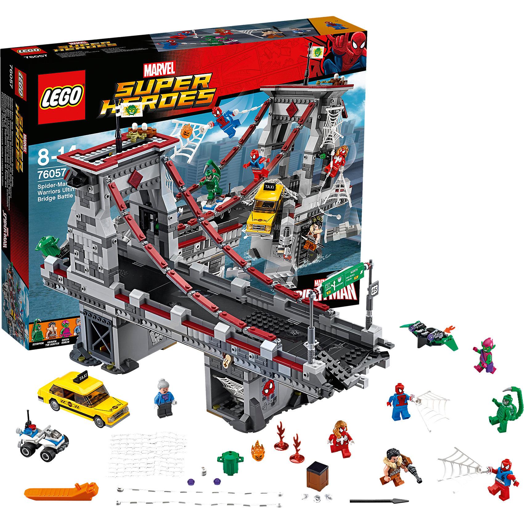 LEGO Super Heroes 76057: Человек-паук: последний бой воинов паутиныПластмассовые конструкторы<br>Человека-Паука обожает множество современных мальчишек, поэтому набор Лего, из которого можно собрать разные сюжеты  про его подвиги, обязательно порадует ребенка. Такие игрушки помогают детям развивать воображение, мелкую моторику, логику и творческое мышление.<br>Набор состоит из множества деталей, с помощью которых можно  собрать декорации для супергероя, а также в нем есть фигурки любимых персонажей и злодеев! С таким комплектом можно придумать множество игр!<br><br>Дополнительная информация:<br><br>цвет: разноцветный;<br>материал: пластик;<br>количество деталей: 1092.<br><br>Набор Человек-паук: последний бой воинов паутины от бренда LEGO Super Heroes можно купить в нашем магазине.<br><br>Ширина мм: 482<br>Глубина мм: 373<br>Высота мм: 96<br>Вес г: 1751<br>Возраст от месяцев: 96<br>Возраст до месяцев: 168<br>Пол: Мужской<br>Возраст: Детский<br>SKU: 4641197