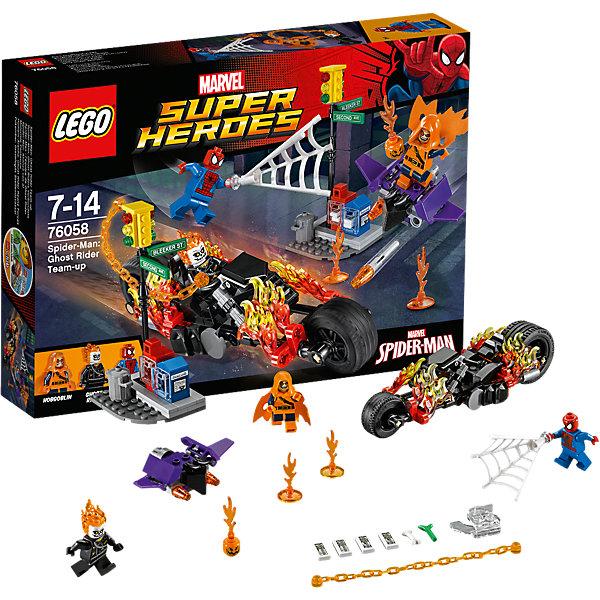 LEGO Super Heroes 76058:Человек-паук: союз с Призрачным гонщикомПластмассовые конструкторы<br>Человека-Паука обожает множество современных мальчишек, поэтому набор Лего, из которого можно собрать разные сюжеты про его подвиги, обязательно порадует ребенка. Такие игрушки помогают детям развивать воображение, мелкую моторику, логику и творческое мышление.<br>Набор состоит из множества деталей, с помощью которых можно  собрать декорации для супергероя, а также в нем есть фигурки любимых персонажей и злодеев! С таким комплектом можно придумать множество игр!<br><br>Дополнительная информация:<br><br>цвет: разноцветный;<br>материал: пластик;<br>количество деталей: 217.<br><br>Набор Человек-паук: союз с Призрачным гонщиком от бренда LEGO Super Heroes можно купить в нашем магазине.<br><br>Ширина мм: 267<br>Глубина мм: 190<br>Высота мм: 50<br>Вес г: 295<br>Возраст от месяцев: 84<br>Возраст до месяцев: 168<br>Пол: Мужской<br>Возраст: Детский<br>SKU: 4641198