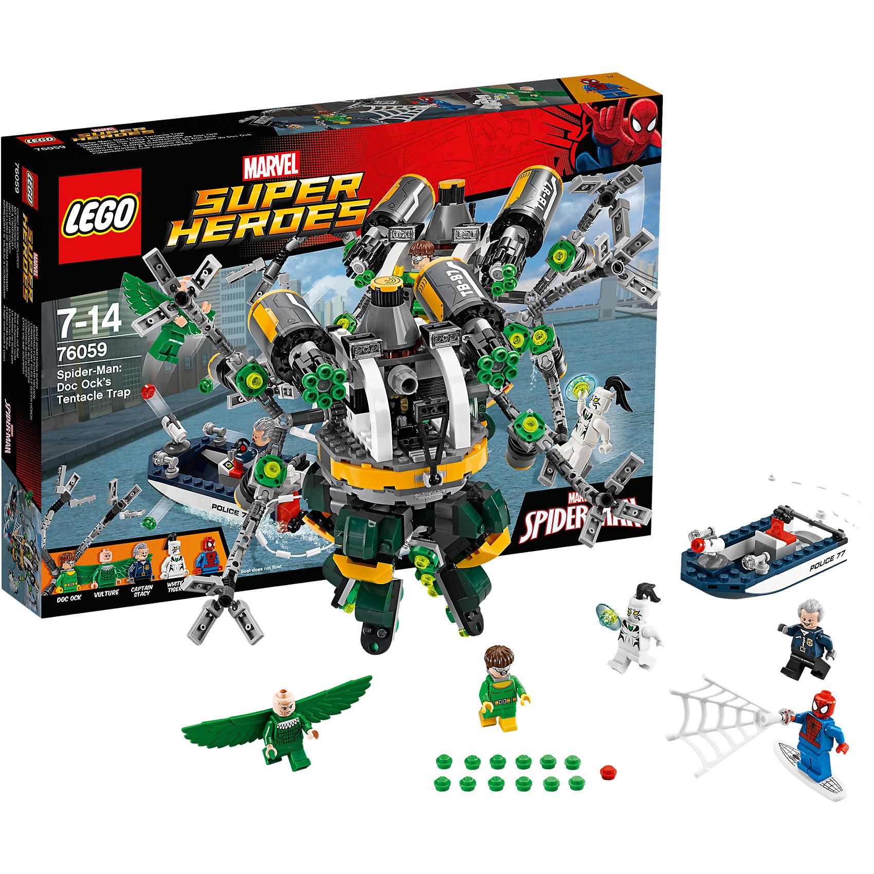 LEGO Super Heroes 76059: Человек-паук: в ловушке Доктора ОсьминогаПластмассовые конструкторы<br>Человека-Паука обожает множество современных мальчишек, поэтому набор Лего, из которого можно собрать разные сюжеты про его подвиги, обязательно порадует ребенка. Такие игрушки помогают детям развивать воображение, мелкую моторику, логику и творческое мышление.<br>Набор состоит из множества деталей, с помощью которых можно  собрать декорации для супергероя, а также в нем есть фигурки любимых персонажей и злодеев! С таким комплектом можно придумать множество игр!<br><br>Дополнительная информация:<br><br>цвет: разноцветный;<br>материал: пластик;<br>количество деталей: 446.<br><br>Набор Человек-паук: в ловушке Доктора Осьминога от бренда LEGO Super Heroes можно купить в нашем магазине.<br><br>Ширина мм: 385<br>Глубина мм: 261<br>Высота мм: 60<br>Вес г: 621<br>Возраст от месяцев: 84<br>Возраст до месяцев: 168<br>Пол: Мужской<br>Возраст: Детский<br>SKU: 4641199