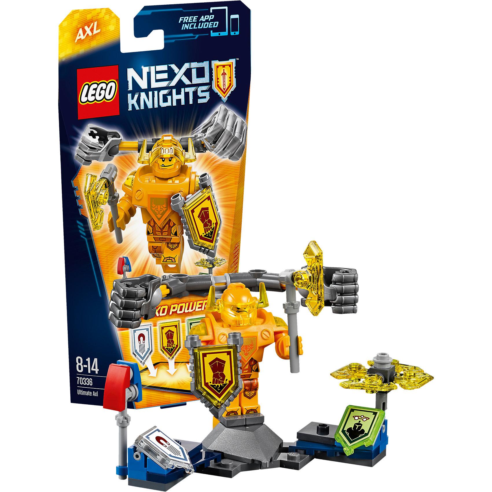 LEGO NEXO KNIGHTS 70336: Аксель- Абсолютная силаПластмассовые конструкторы<br>Аксель - Абсолютная сила всегда голоден, но теперь тяжеловесный рыцарь ещё и горит желанием добраться до Джестро и Лава-монстров. Для начала гигантскими кулаками проложи себе путь в самую гущу сражения! Нанеси врагам максимальный ущерб намагниченной булавой или порази их вращающимися лезвиями! <br><br>LEGO Nexo Knights ( ЛЕГО Нексо Найт) - это невероятный мир прогресса и новых технологий, в котором все же нашлось место для настоящих рыцарей, магии и волшебства. Удивительное сочетание футуризма и средневековой романтики увлекает и детей, и взрослых, а множество наборов серии и высокая детализация позволяют создать свой волшебный мир Nexo Knights!<br><br>Дополнительная информация:<br><br>- Конструкторы ЛЕГО развивают усидчивость, внимание, фантазию и мелкую моторику. <br>- Количество деталей: 69. <br>- 1 минифигурка, постамент, аксессуары. <br>- Серия ЛЕГО Нексо Найт (LEGO Nexo Knights).<br>- Материал: пластик.<br>- Размер упаковки: 24х5х14 см.<br>- Вес: 0.095 кг.<br><br>Конструктор LEGO Nexo Knights 70336: Аксель- Абсолютная сила можно купить в нашем магазине.<br><br>Ширина мм: 333<br>Глубина мм: 141<br>Высота мм: 51<br>Вес г: 96<br>Возраст от месяцев: 96<br>Возраст до месяцев: 168<br>Пол: Мужской<br>Возраст: Детский<br>SKU: 4641200