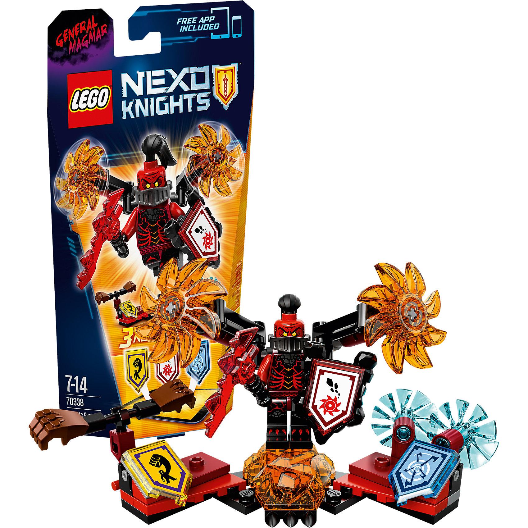 LEGO NEXO KNIGHTS 70338: Генерал Магмар - Абсолютная силаПластмассовые конструкторы<br>Генерал Магмар играет подло, и даже Джестро нужно оглядываться, когда Генерал Магмар Абсолютная сила начинает вращать своё пылающее оружие. Используй магию, чтобы поразить противников, вызвав NEXO-силу «Вихревой ветер»! Этот злой генерал даже может переломить ход сражения, если пустит в ход свои сокрушающие кулаки.<br><br>LEGO Nexo Knights ( ЛЕГО Нексо Найт) - это невероятный мир прогресса и новых технологий, в котором все же нашлось место для настоящих рыцарей, магии и волшебства. Удивительное сочетание футуризма и средневековой романтики увлекает и детей, и взрослых, а множество наборов серии и высокая детализация позволяют создать свой волшебный мир Nexo Knights!<br><br>Дополнительная информация:<br><br>- Конструкторы ЛЕГО развивают усидчивость, внимание, фантазию и мелкую моторику. <br>- Количество деталей: 69. <br>- 1 минифигурка, постамент, аксессуары. <br>- Серия ЛЕГО Нексо Найт (LEGO Nexo Knights).<br>- Материал: пластик.<br>- Размер упаковки: 24х5х14 см.<br>- Вес: 0.095 кг.<br><br>Конструктор LEGO Nexo Knights 70338: Генерал Магмар - Абсолютная сила можно купить в нашем магазине.<br><br>Ширина мм: 236<br>Глубина мм: 142<br>Высота мм: 50<br>Вес г: 95<br>Возраст от месяцев: 84<br>Возраст до месяцев: 168<br>Пол: Мужской<br>Возраст: Детский<br>SKU: 4641202