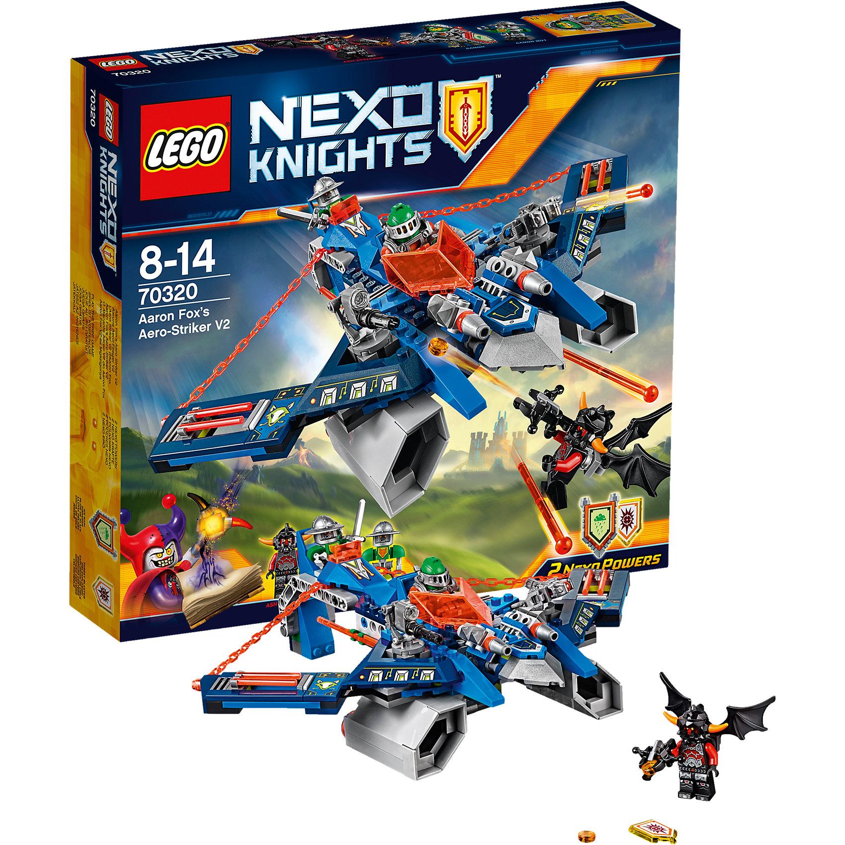 LEGO NEXO KNIGHTS 70320: Аэро-арбалет АаронаПогрузись в футуристический мир LEGO Nexo Knightsс удивительным аэро-арбалетом и превратись в Аарона Фокса, используя флайер «2 в 1» как арбалет! Сражайся против Лавовых монстров, нажимая на спусковой механизм, чтобы стрелять сразу из двух пружинных шутеров. Затем отправь Аарона против крылатого Пеплометателя и стреляй из арбалета-шутера или выпусти рыцаря на стреловидном флайере и предоставь управление боту Аарона! В набор входят щиты для сканирования, дающие 2 NEXO Силы: Ледяной дождь и Умный бластер.<br><br>LEGO Nexo Knights ( ЛЕГО Нексо Найт) - это невероятный мир прогресса и новых технологий, в котором все же нашлось место для настоящих рыцарей, магии и волшебства. Удивительное сочетание футуризма и средневековой романтики увлекает и детей, и взрослых, а множество наборов серии и высокая детализация позволяют создать свой волшебный мир Nexo Knights!<br><br>Дополнительная информация:<br><br>- Конструкторы ЛЕГО развивают усидчивость, внимание, фантазию и мелкую моторику. <br>- Количество деталей: 301. <br>- 3 минифигурки.<br>- 3 минифигурки, аэро-арбалет, аксессуары. <br>- Серия ЛЕГО Нексо Найт (LEGO Nexo Knights).<br>- Материал: пластик.<br>- Размер упаковки: 28х6х26 см.<br>- Вес: 0.481 кг.<br><br>Конструктор LEGO Nexo Knights 70320: Аэро-арбалет Аарона можно купить в нашем магазине.<br><br>Ширина мм: 282<br>Глубина мм: 264<br>Высота мм: 63<br>Вес г: 499<br>Возраст от месяцев: 96<br>Возраст до месяцев: 168<br>Пол: Мужской<br>Возраст: Детский<br>SKU: 4641206