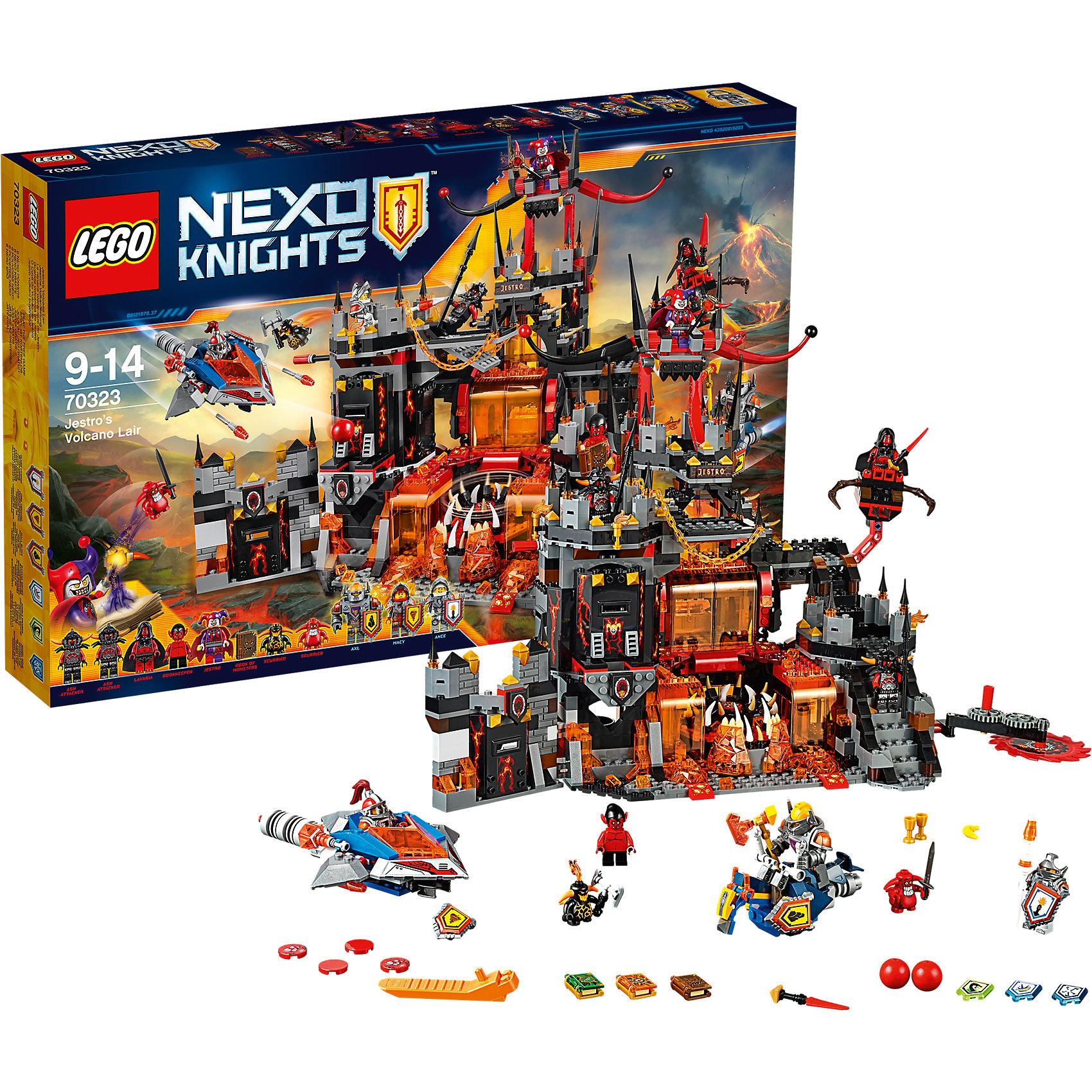 LEGO NEXO KNIGHTS 70323: Логово ДжестроКоварный шут Джестро скрывается в своем логове, расположенном в жезле вулкана. Логово - это огромная неприступная крепость, внутри которой располагается  высокий четырехэтажный замок и небольшая пристройка. В центре крепости - клыкастая вращающаяся пасть монстра, куда сбрасывают всех неугодных. Справа находится лестница, ведущая на вершину замка, слева – башня. На лестнице установлена первая ловушка для штурмующих – огромная дисковая пила, которая вращается. Под лестницей находится камера узников, которой Мэйси может снести одну из стен мощным ударом булавой. Чуть выше лестничной площадки между первым и вторым этажом на специальной подвижной штанге установлено гнездо с дискометом, который может вести огонь по ведущим приступ рыцарям. Маленькая постройка - это кусок крепостной стены, украшенной подтёками лавы и площадкой для воинов с зубцами сверху. В нижней части спрятана оружейная комната.<br><br>LEGO Nexo Knights ( ЛЕГО Нексо Найт) - это невероятный мир прогресса и новых технологий, в котором все же нашлось место для настоящих рыцарей, магии и волшебства. Удивительное сочетание футуризма и средневековой романтики увлекает и детей, и взрослых, а множество наборов серии и высокая детализация позволяют создать свой волшебный мир Nexo Knights!<br><br>Дополнительная информация:<br><br>- Конструкторы ЛЕГО развивают усидчивость, внимание, фантазию и мелкую моторику. <br>- 8 минифигурок: Библиотекарь, Лавария, Шут Джестро, 2 пепельных охотника, Мэйси, Аксель и Ланс. <br>- Количество деталей: 1186 <br>- Комплектация: логово Джестро, 8 минифигурок, 2 шустрика, Книга Монстров, аксессуары, два летательных аппарата Нексо рыцарей.<br>- Серия ЛЕГО Нексо Найт (LEGO Nexo Knights).<br>- Материал: пластик.<br>- Размер упаковки: 58х9х38 см.<br>- Вес: 2 кг.<br><br>Конструктор LEGO Nexo Knights 70323: Логово Джестро можно купить в нашем магазине.<br><br>Ширина мм: 584<br>Глубина мм: 378<br>Высота мм: 91<br>Вес г: 2069<br>Возраст от месяцев: 108<br