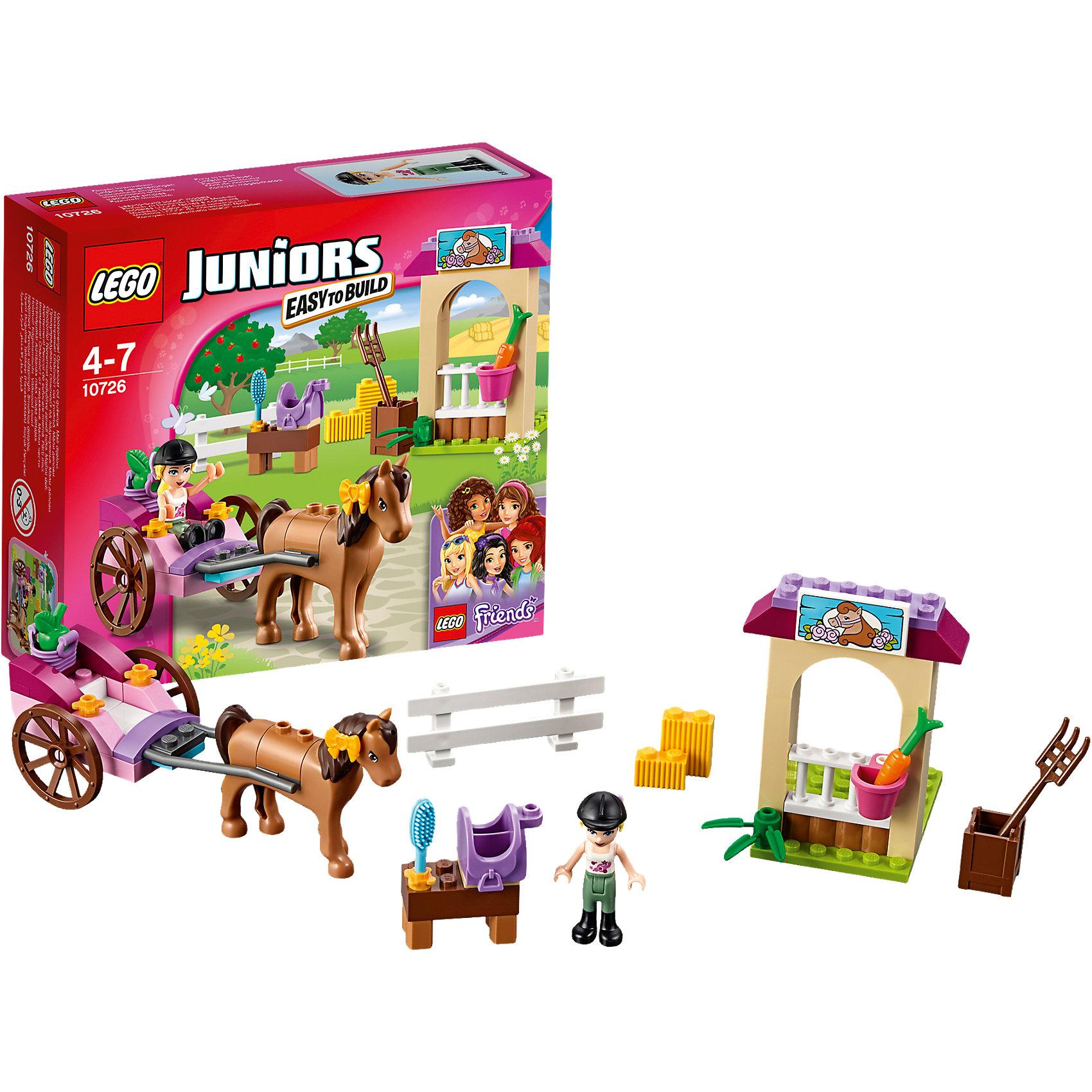 LEGO Juniors 10726: Карета СтефаниИграть с конструктором обожает множество современных девочек, поэтому набор Лего, из которого можно собрать разные сюжеты про Стефани и её приключения, обязательно порадует ребенка. Такие игрушки помогают детям развивать воображение, мелкую моторику, логику и творческое мышление.<br>Набор состоит из множества деталей, с помощью которых можно  собрать декорации для игр, а также в нем есть фигурки любимых персонажей! С таким комплектом можно придумать множество игр!<br><br>Дополнительная информация:<br><br>цвет: разноцветный;<br>размер коробки: 15 х 14 х 5 см;<br>вес: 140 г;<br>материал: пластик;<br>количество деталей: 58.<br><br>Набор Карета Стефани от бренда LEGO Juniors можно купить в нашем магазине.<br><br>Ширина мм: 158<br>Глубина мм: 142<br>Высота мм: 48<br>Вес г: 132<br>Возраст от месяцев: 48<br>Возраст до месяцев: 84<br>Пол: Женский<br>Возраст: Детский<br>SKU: 4641211