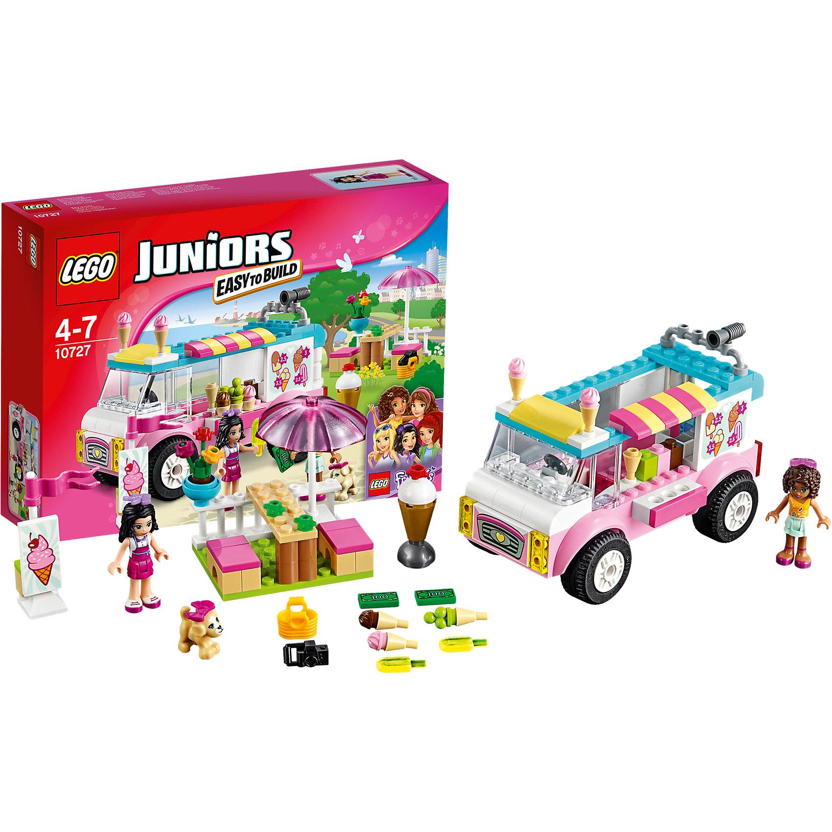 LEGO Juniors 10727: Грузовик с мороженым ЭммыПластмассовые конструкторы<br>Игры с конструктором обожает множество современных девочек, поэтому набор Лего, из которого можно собрать разные сюжеты про героев и её приключения, обязательно порадует ребенка. Такие игрушки помогают детям развивать воображение, мелкую моторику, логику и творческое мышление.<br>Набор состоит из множества деталей, с помощью которых можно  собрать декорации для игр, а также в нем есть фигурки любимых персонажей! С таким комплектом можно придумать множество игр!<br><br>Дополнительная информация:<br><br>цвет: разноцветный;<br>размер коробки: 26 х 19 х 6 см;<br>вес: 330 г;<br>материал: пластик;<br>количество деталей: 136.<br><br>Набор  Грузовик с мороженым Эммы от бренда LEGO Juniors можно купить в нашем магазине.<br><br>Ширина мм: 264<br>Глубина мм: 190<br>Высота мм: 60<br>Вес г: 321<br>Возраст от месяцев: 48<br>Возраст до месяцев: 84<br>Пол: Женский<br>Возраст: Детский<br>SKU: 4641212