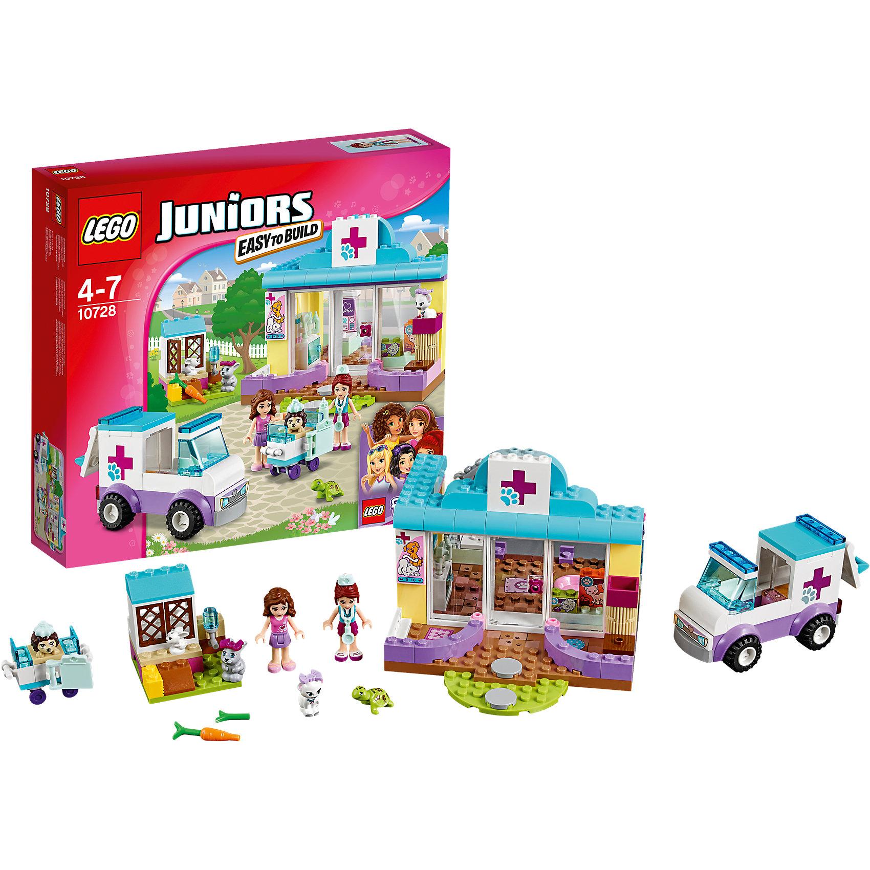 LEGO Juniors 10728: Ветеринарная клиника МииПластмассовые конструкторы<br>Играть с конструктором обожает множество современных девочек, поэтому набор Лего, из которого можно собрать разные сюжеты про героев и её приключения, обязательно порадует ребенка. Такие игрушки помогают детям развивать воображение, мелкую моторику, логику и творческое мышление.<br>Набор состоит из множества деталей, с помощью которых можно  собрать декорации для игр, а также в нем есть фигурки любимых персонажей! С таким комплектом можно придумать множество игр!<br><br>Дополнительная информация:<br><br>цвет: разноцветный;<br>размер коробки: 28 х 26 х 6 см;<br>вес: 450 г;<br>материал: пластик;<br>количество деталей: 173.<br><br>Набор Ветеринарная клиника Мии от бренда LEGO Juniors можно купить в нашем магазине.<br><br>Ширина мм: 287<br>Глубина мм: 261<br>Высота мм: 63<br>Вес г: 458<br>Возраст от месяцев: 48<br>Возраст до месяцев: 84<br>Пол: Женский<br>Возраст: Детский<br>SKU: 4641213