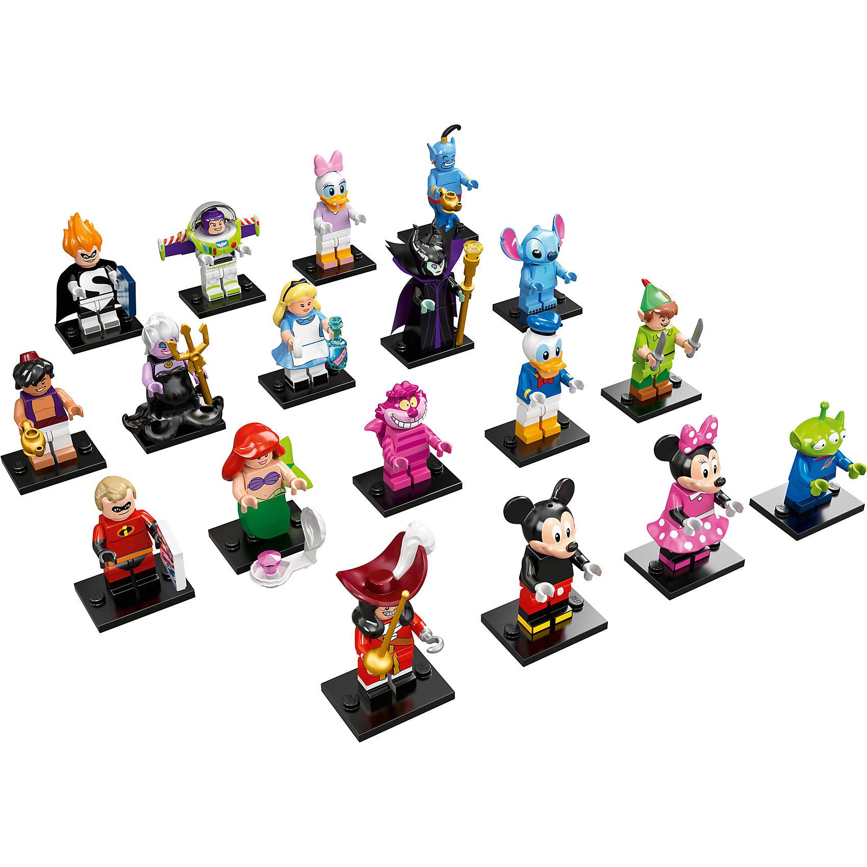 LEGO 71012: Минифигурки, серия ДиснейНовая серия минифигурок от ЛЕГО порадует всех любителей и коллекционеров.<br><br>Дополнительная информация:<br><br>В комплекте одна минифигурка-героя мультфильмов компании Дисней.<br>ВНИМАНИЕ! Данный артикул представлен в разных вариантах исполнения. К сожалению, заранее выбрать определенный вариант невозможно. При заказе нескольких минифигурок возможно получение одинаковых.<br>Возможные варианты: Mickey Mouse (Мики Маус), Minnie Mouse (Минни Маус), Donald Duck (Дональд Дак), Daisy Duck (Дейзи), Ariel (Ариэль), Ursula (Урсула), Peter Pan (Питер Пен), Captain Hook (Капитан Крюк), Stitch, Alice (Алиса), Cheshire Cat (Чеширский Кот), Maleficent, Mr. Incredible, Syndrome, Aladdin, Genie, Buzz Lightyear, Pizza Planet,  Alien.<br><br>LEGO 71012: Минифигурки, серия Дисней (Disney) можно купить в нашем магазине.<br><br>Ширина мм: 120<br>Глубина мм: 90<br>Высота мм: 2<br>Вес г: 11<br>Возраст от месяцев: 60<br>Возраст до месяцев: 144<br>Пол: Унисекс<br>Возраст: Детский<br>SKU: 4641214