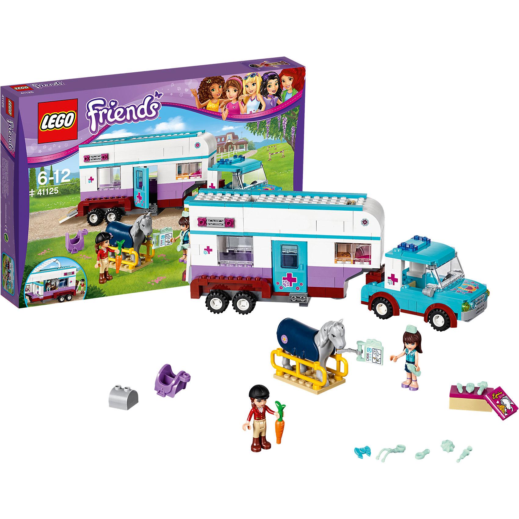 LEGO Friends 41125: Ветеринарная машина для лошадокИгры с конструктором обожает множество современных девочек, поэтому набор Лего, из которого можно собрать разные сюжеты про героев и её приключения, обязательно порадует ребенка. Такие игрушки помогают детям развивать воображение, мелкую моторику, логику и творческое мышление.<br>Набор состоит из множества деталей, с помощью которых можно  собрать декорации для игр, а также в нем есть фигурки любимых персонажей! С таким комплектом можно придумать множество игр!<br><br>Дополнительная информация:<br><br>цвет: разноцветный;<br>размер коробки: 35 x 29 x 5 см;<br>вес: 1000 г;<br>материал: пластик;<br>количество деталей: 370.<br><br>Набор Ветеринарная машина для лошадок от бренда LEGO Friends можно купить в нашем магазине.<br><br>Ширина мм: 381<br>Глубина мм: 261<br>Высота мм: 58<br>Вес г: 642<br>Возраст от месяцев: 72<br>Возраст до месяцев: 144<br>Пол: Женский<br>Возраст: Детский<br>SKU: 4641217