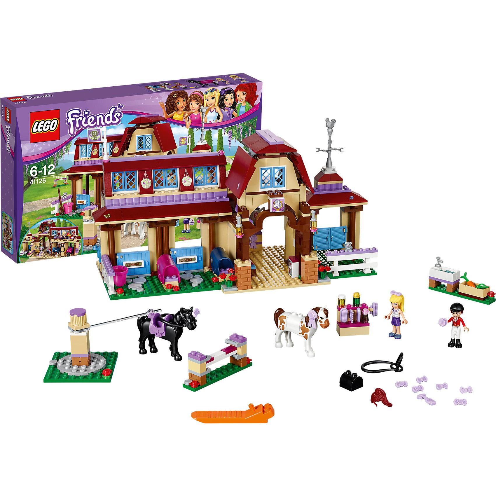 LEGO Friends 41126: Клуб верховой ездыКонструкторы из серии LEGO Friends полюбились многим современным девочкам, поэтому набор Лего, из которого можно собрать разные сюжеты про героев и её приключения, обязательно порадует ребенка. Такие игрушки помогают детям развивать воображение, мелкую моторику, логику и творческое мышление.<br>Набор состоит из множества деталей, с помощью которых можно  собрать декорации для игр, а также в нем есть фигурки любимых персонажей! С таким комплектом можно придумать множество игр!<br><br>Дополнительная информация:<br><br>цвет: разноцветный;<br>размер коробки: 7 x 47 x 28 см;<br>вес: 3000 г;<br>материал: пластик;<br>количество деталей: 575.<br><br>Набор Клуб верховой езды от бренда LEGO Friends можно купить в нашем магазине.<br><br>Ширина мм: 475<br>Глубина мм: 281<br>Высота мм: 78<br>Вес г: 1190<br>Возраст от месяцев: 72<br>Возраст до месяцев: 144<br>Пол: Женский<br>Возраст: Детский<br>SKU: 4641218