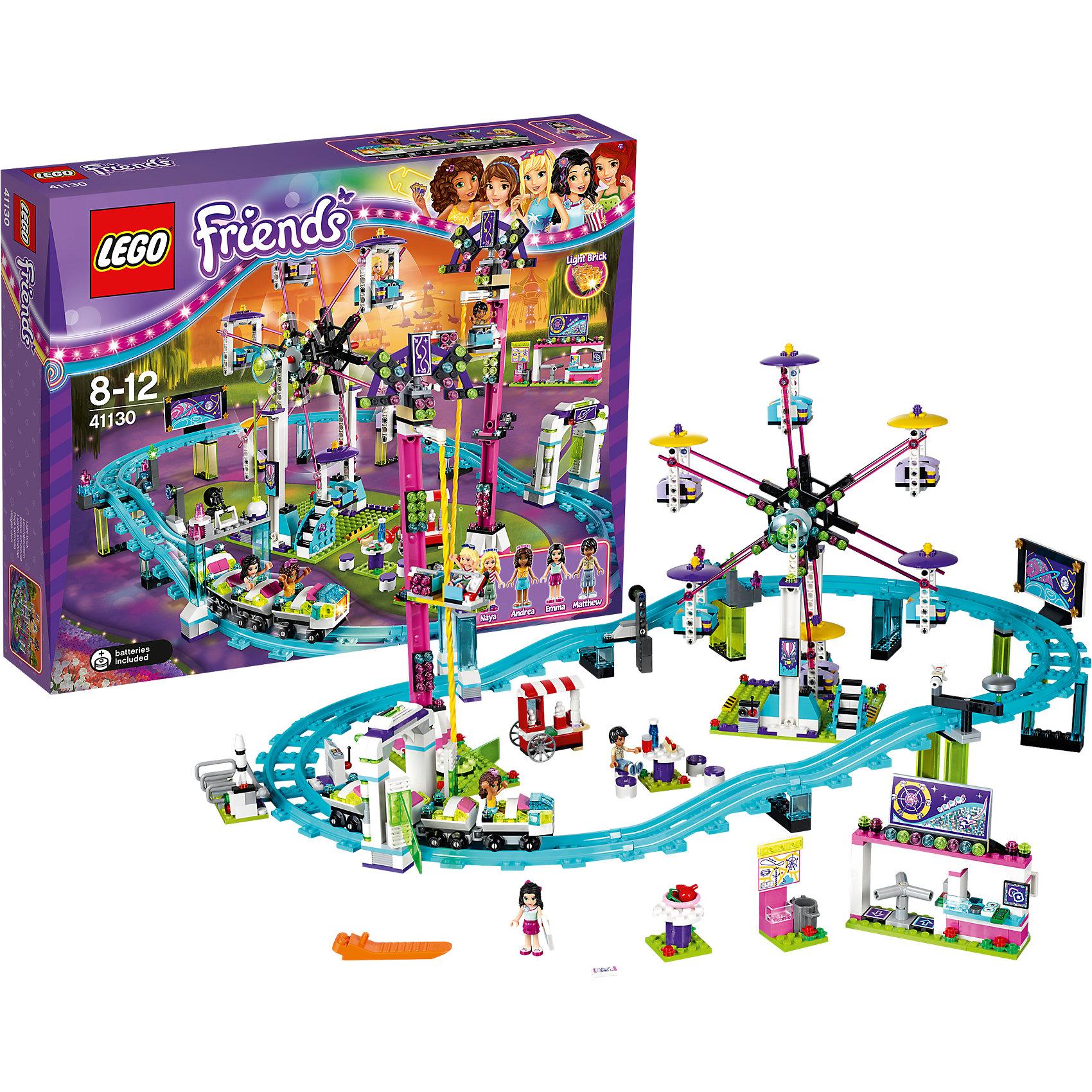LEGO Friends 41130: Парк развлечений: американские горкиХарактеристики:<br><br>• Предназначение: набор для конструирования, сюжетно-ролевые игры<br>• Пол: для девочек<br>• Материал: пластик<br>• Цвет: бирюзовый, желтый, зеленый, сиреневый, белый, черный<br>• Серия LEGO: Friends<br>• Размер упаковки (Д*Ш*В): 9,4*37,8*48 см<br>• Вес: 1 кг 620 г<br>• Количество деталей: 1124 шт.<br>• Наличие светового эффекта<br>• Комплектация: детали для колеса обозрения, американских горок, башни свободного падения, кассы с входом и фуд-корта, информационный стенд, 4 мини-фигурки и другие аксессуары<br>• Батарейки: 2 шт. типа LR41 (предусмотрены в комплекте)<br><br>LEGO Friends 41130: Парк развлечений: американские горки – набор от всемирно известного производителя конструкторов для детей всех возрастных категорий. LEGO Creator 31051: Парк развлечений является флагманским набором серии Friends. Элементы конструктора позволяют сконструировать парк с различными аттракционами: колесо обозрения, американские горки, башня свободного падения. Колесо обозрения вращается, оснащено шестью кабинками. Разнообразие и богатство элементов позволят воссоздавать юному конструктору атрибуты городского парка развлечений: тележка с мороженым, фуд-корт, где можно перекусить хот-догами и фруктами. В комплекте предусмотрена яркая инструкция, которая научит вашего ребенка действовать по образцу. Набор оснащен светодиодным блоком, который светится при запуске аттракциона с горками.<br>Игры с конструкторами LEGO развивают усидчивость, внимательность, мелкую моторику рук, способствуют формированию конструкторского мышления. С набором LEGO Friends 41130: Парк развлечений: американские горки ваш ребенок сможет придумывать целые сюжетные истории, развивая тем самым воображение и обогащая свой словарный запас. <br><br>LEGO Friends 41130: Парк развлечений: американские горки можно купить в нашем интернет-магазине.<br><br>Ширина мм: 474<br>Глубина мм: 375<br>Высота мм: 96<br>Вес г: 1690<br>Возраст от месяцев: 96<br