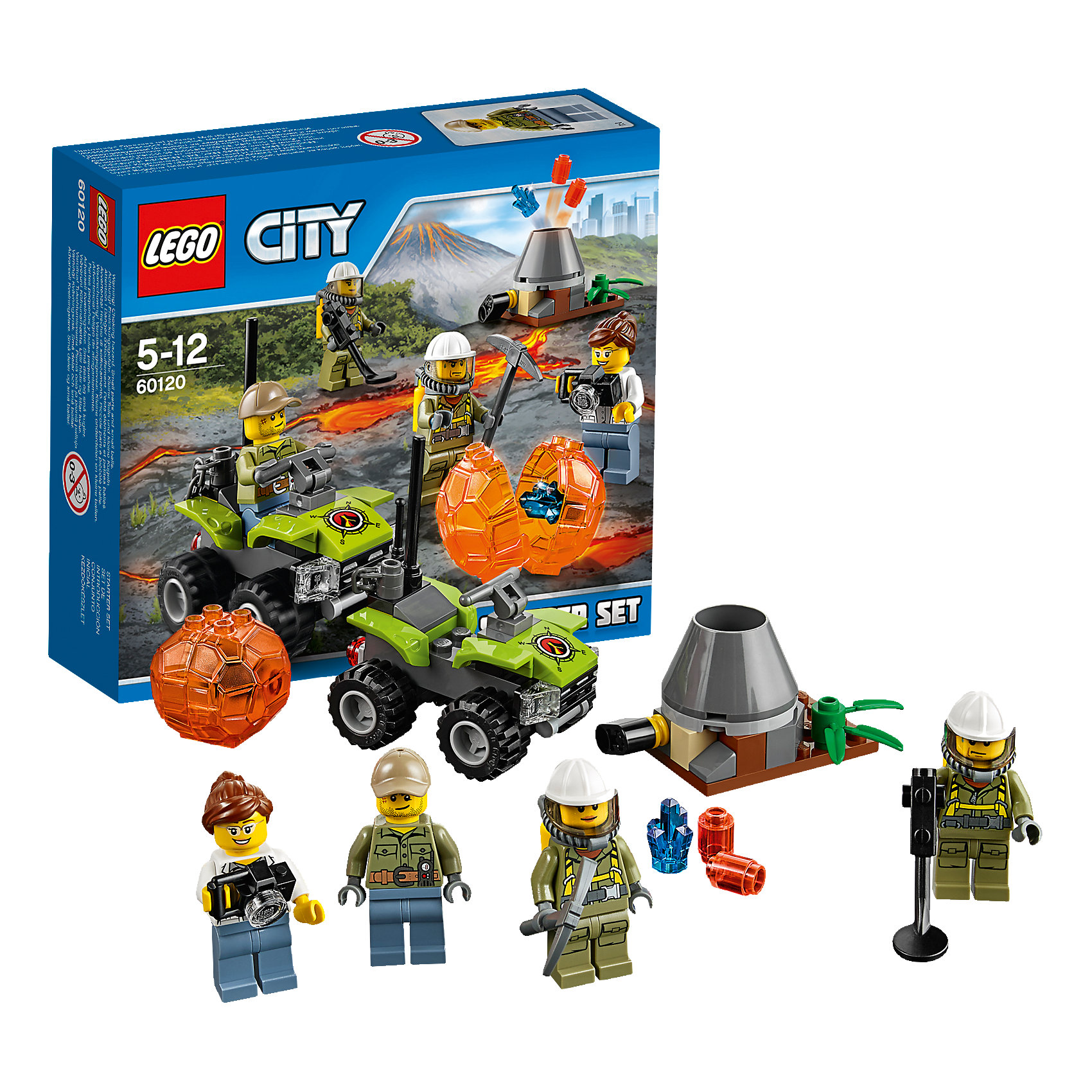 LEGO LEGO City 60120: Набор для начинающих Исследователи Вулканов конструкторы lego lego city jungle explorer база исследователей джунглей 60161