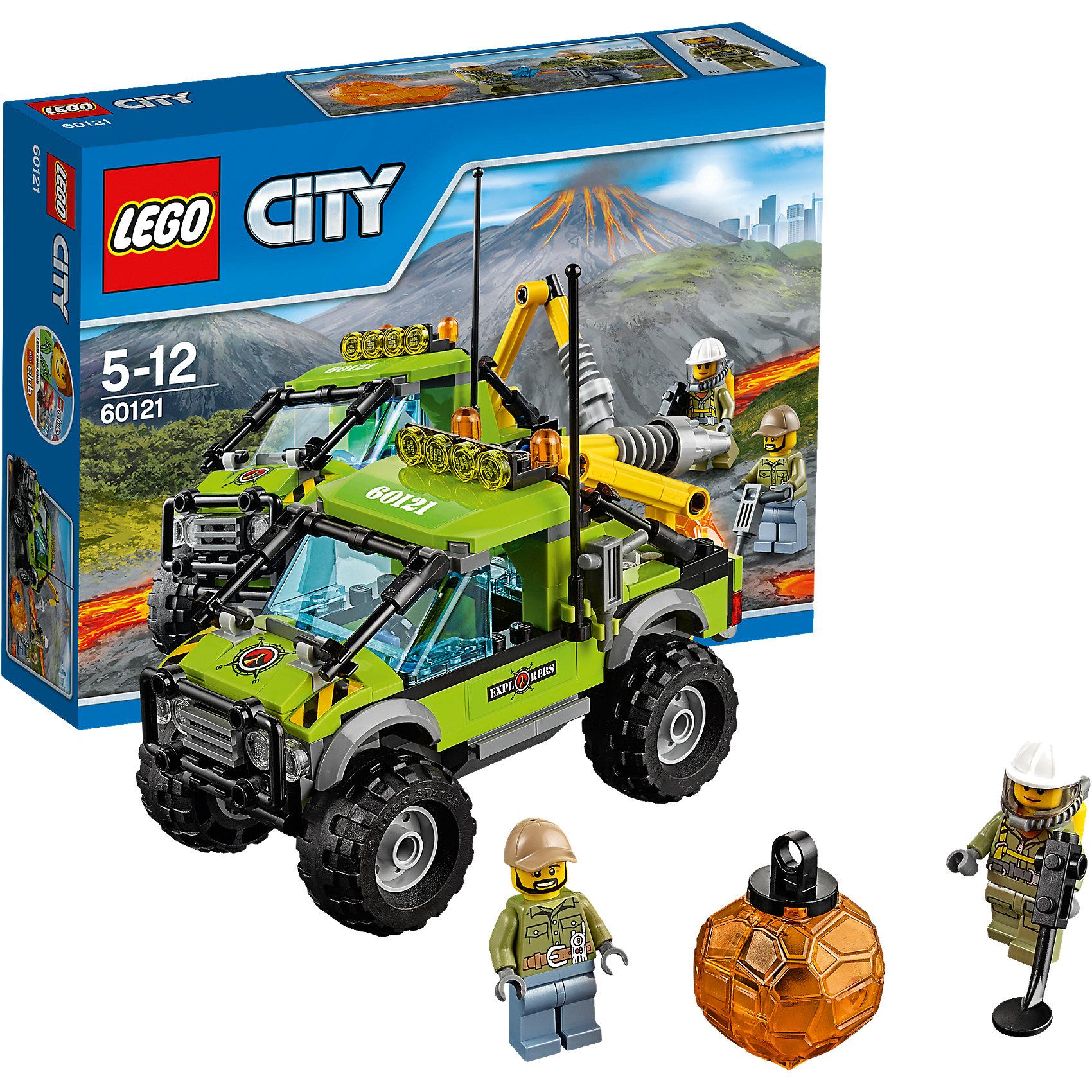 LEGO City 60121: Грузовик исследователей вулкановLEGO<br>Скорее прыгай в грузовик исследователей и отправляйся в увлекательную экспедицию к подножию вулкана! Вездеход георазведки имеет большие колеса, прочное лобовое крыло и мощные фары на крыше. В открытом багажнике есть настоящий бур. С его помощью можно  разбивать даже огромные камни! Смотри, какой красивый кристалл был внутри валуна! <br><br>LEGO City (ЛЕГО Сити) - серия детских конструкторов ЛЕГО, с помощью которого ваш ребенок может погрузиться в мир мегаполиса. Эта серия поможет ребенку понять, как устроена жизнь города, какие функции выполняют те или иные люди и техника. Предлагает на выбор огромное множество профессий, сфер деятельности и ситуаций, связанных с ними.<br><br>Дополнительная информация:<br><br>- Конструкторы ЛЕГО развивают усидчивость, внимание, фантазию и мелкую моторику. <br>- 2 минифигурки геологов.<br>- Количество деталей: 175. <br>- Комплектация: 2 минифигурки, аксессуары, грузовик, кристалл.<br>- Колеса машины подвижные.<br>- Серия ЛЕГО Сити (LEGO City).<br>- Материал: пластик.<br>- Размер упаковки: 26,2x19,1x6,1 см.<br>- Вес:0,33 кг.<br><br>Конструктор LEGO City 60121: Грузовик исследователей вулканов можно купить в нашем магазине.<br><br>Ширина мм: 265<br>Глубина мм: 190<br>Высота мм: 63<br>Вес г: 331<br>Возраст от месяцев: 60<br>Возраст до месяцев: 144<br>Пол: Мужской<br>Возраст: Детский<br>SKU: 4641227