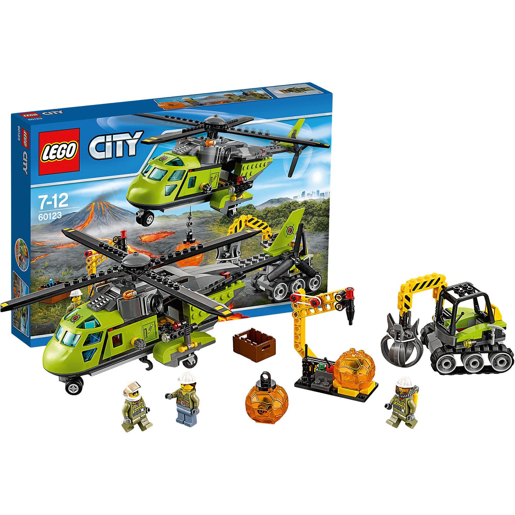 LEGO LEGO City 60123: Грузовой вертолёт исследователей вулканов конструкторы lego lego city jungle explorer база исследователей джунглей 60161