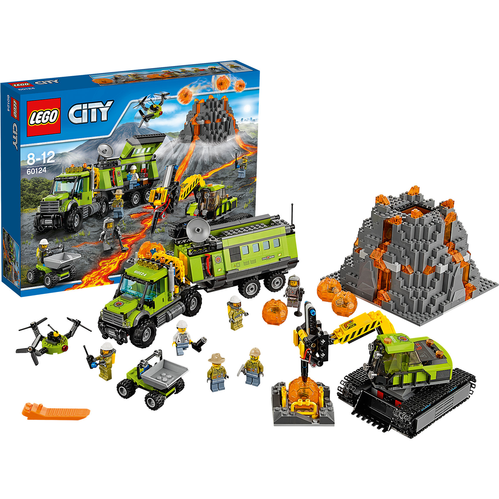 LEGO City 60124: База исследователей вулкановПострой собственную исследовательскую базу у подножия извергающегося вулкана! В этом наборе есть все, чтобы почувствовать себя настоящим вулканологом. Прекрасно оснащенный грузовик с прицепом - лабораторией доставит тебя к месту исследований. Находи и поднимай камни с помощью экскаватора, разбивай их и добывай удивительные кристаллы. Вулкан извергает из жерла камни-бомбочки с кристаллами. Для активизации этой функции необходимо нажать на специальный рычаг, расположенный на одном из склонов горы. Запусти в воздух дрон, чтобы заснять и исследовать вулкан с высоты птичьего полета. <br><br>LEGO City (ЛЕГО Сити) - серия детских конструкторов ЛЕГО, с помощью которого ваш ребенок может погрузиться в мир мегаполиса. Эта серия поможет ребенку понять, как устроена жизнь города, какие функции выполняют те или иные люди и техника. Предлагает на выбор огромное множество профессий, сфер деятельности и ситуаций, связанных с ними.<br><br>Дополнительная информация:<br><br>- Конструкторы ЛЕГО развивают усидчивость, внимание, фантазию и мелкую моторику. <br>- 6 минифигурок исследователей.<br>- Количество деталей: 824. <br>- Комплектация: 6 минифигурок, грузовик с прицепом-фургоном, <br>4 вулканических шара с кристаллами внутри, экскаватор с буром для дробления вулканических шаров, моторизированная тачка-самосвал, дрон, аксессуары.<br>- Серия ЛЕГО Сити (LEGO City).<br>- Материал: пластик.<br>- Размер упаковки: 48х10х38 см.<br>- Вес: 1.92 кг.<br><br>Конструктор LEGO City 60124: База исследователей вулканов можно купить в нашем магазине.<br><br>Ширина мм: 483<br>Глубина мм: 375<br>Высота мм: 104<br>Вес г: 1825<br>Возраст от месяцев: 96<br>Возраст до месяцев: 144<br>Пол: Мужской<br>Возраст: Детский<br>SKU: 4641229