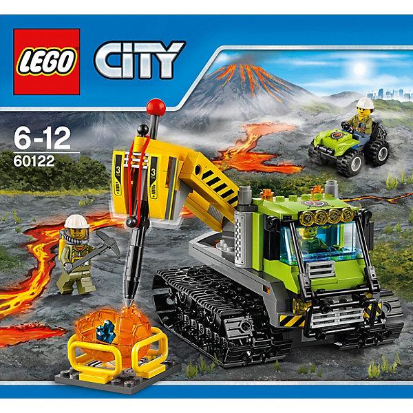 LEGO City 60122: Вездеход исследователей вулкановКонструкторы Лего<br>Отправляйся на поиски горного кристалла вместе с отважными исследователями-геологами! Их вездеход проедет по любой поверхности. Машина на гусеничном ходу оснащена мощным отбойным молотком, используй его, чтобы разбить камни и узнать, что внутри. <br><br>LEGO City (ЛЕГО Сити) - серия детских конструкторов ЛЕГО, с помощью которого ваш ребенок может погрузиться в мир мегаполиса. Эта серия поможет ребенку понять, как устроена жизнь города, какие функции выполняют те или иные люди и техника. Предлагает на выбор огромное множество профессий, сфер деятельности и ситуаций, связанных с ними.<br><br>Дополнительная информация:<br><br>- Конструкторы ЛЕГО развивают усидчивость, внимание, фантазию и мелкую моторику. <br>- 3 минифигурки геологов.<br>- Количество деталей: 324. <br>- Комплектация: 3 минифигурки, вездеход с подвижной гусеницей и приборами, машинка цепью, вулканический камень в виде прозрачного шара с кристаллом внутри, аксессуары.<br>- Серия ЛЕГО Сити (LEGO City).<br>- Материал: пластик.<br>- Размер упаковки: 26х7,6х28 см.<br>- Вес: 0,7 кг.<br><br>Конструктор LEGO City 60122: Вездеход исследователей вулканов можно купить в нашем магазине.<br><br>Ширина мм: 284<br>Глубина мм: 264<br>Высота мм: 81<br>Вес г: 618<br>Возраст от месяцев: 72<br>Возраст до месяцев: 144<br>Пол: Мужской<br>Возраст: Детский<br>SKU: 4641230