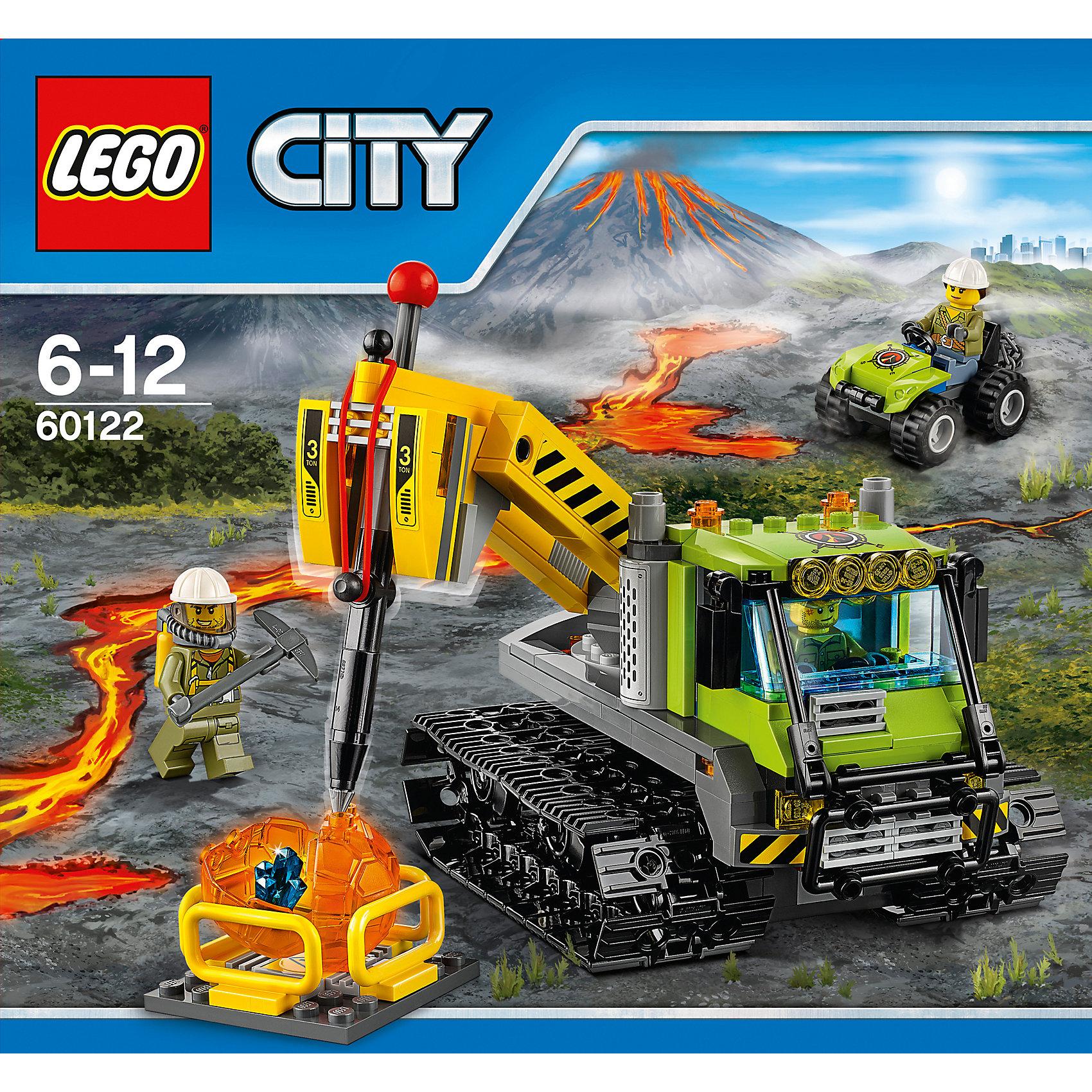 LEGO City 60122: Вездеход исследователей вулкановLEGO<br>Отправляйся на поиски горного кристалла вместе с отважными исследователями-геологами! Их вездеход проедет по любой поверхности. Машина на гусеничном ходу оснащена мощным отбойным молотком, используй его, чтобы разбить камни и узнать, что внутри. <br><br>LEGO City (ЛЕГО Сити) - серия детских конструкторов ЛЕГО, с помощью которого ваш ребенок может погрузиться в мир мегаполиса. Эта серия поможет ребенку понять, как устроена жизнь города, какие функции выполняют те или иные люди и техника. Предлагает на выбор огромное множество профессий, сфер деятельности и ситуаций, связанных с ними.<br><br>Дополнительная информация:<br><br>- Конструкторы ЛЕГО развивают усидчивость, внимание, фантазию и мелкую моторику. <br>- 3 минифигурки геологов.<br>- Количество деталей: 324. <br>- Комплектация: 3 минифигурки, вездеход с подвижной гусеницей и приборами, машинка цепью, вулканический камень в виде прозрачного шара с кристаллом внутри, аксессуары.<br>- Серия ЛЕГО Сити (LEGO City).<br>- Материал: пластик.<br>- Размер упаковки: 26х7,6х28 см.<br>- Вес: 0,7 кг.<br><br>Конструктор LEGO City 60122: Вездеход исследователей вулканов можно купить в нашем магазине.<br><br>Ширина мм: 284<br>Глубина мм: 264<br>Высота мм: 81<br>Вес г: 618<br>Возраст от месяцев: 72<br>Возраст до месяцев: 144<br>Пол: Мужской<br>Возраст: Детский<br>SKU: 4641230