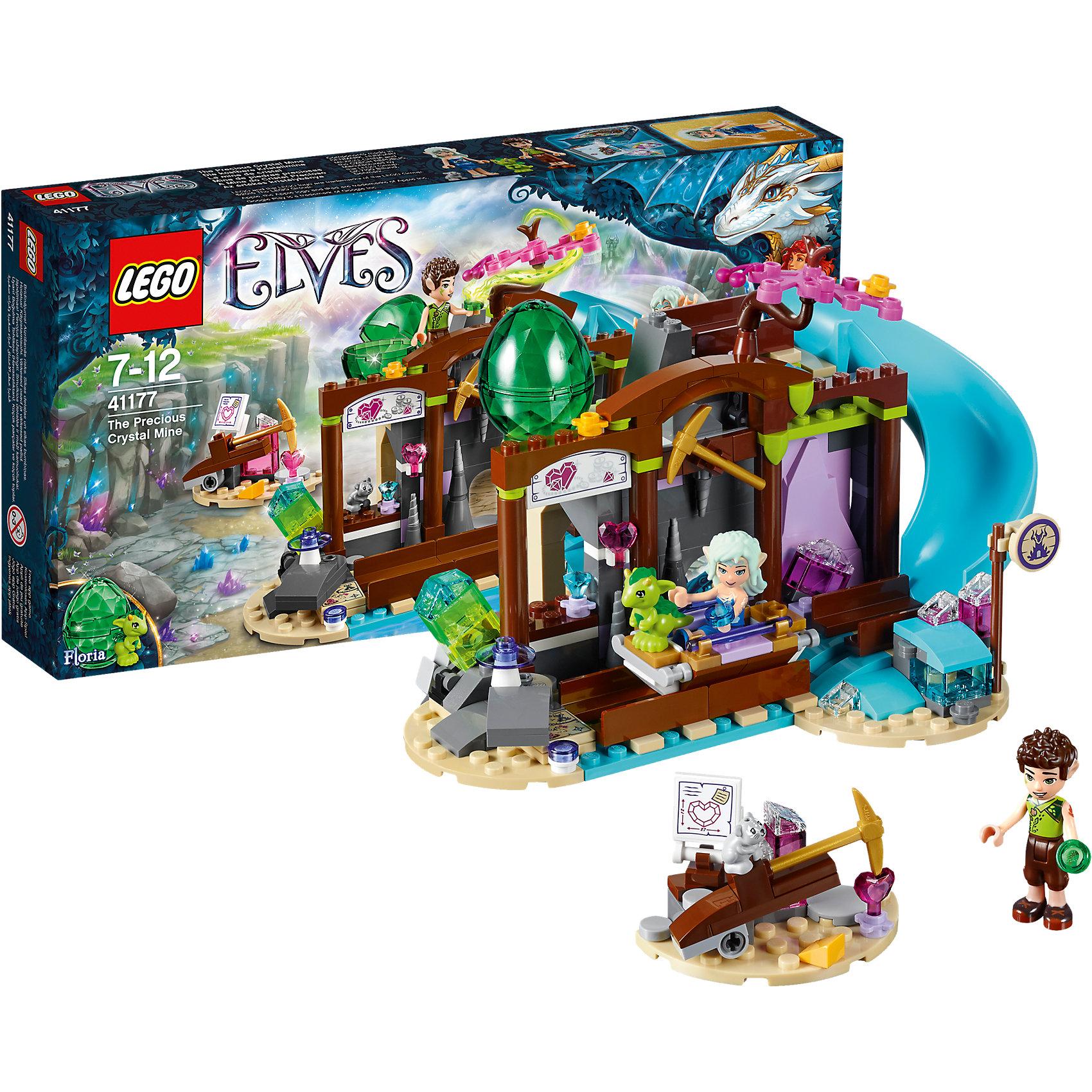 LEGO Elves 41177: Кристальная шахтаКто не любит волшебных эльфов? Конструкторы из серии LEGO Elves полюбились многим современным детям, поэтому набор Лего, из которого можно собрать разные сюжеты про героев и её приключения, обязательно порадует ребенка. Такие игрушки помогают детям развивать воображение, мелкую моторику, логику и творческое мышление.<br>Набор состоит из множества деталей, с помощью которых можно  собрать декорации для игр, а также в нем есть фигурки любимых персонажей! С таким комплектом можно придумать множество игр!<br><br>Дополнительная информация:<br><br>цвет: разноцветный;<br>размер коробки: 35 х 5 х 19 см;<br>вес: 405 г;<br>материал: пластик;<br>количество деталей: 273.<br><br>Набор Кристальная шахта от бренда LEGO Elves можно купить в нашем магазине.<br><br>Ширина мм: 351<br>Глубина мм: 192<br>Высота мм: 63<br>Вес г: 423<br>Возраст от месяцев: 84<br>Возраст до месяцев: 144<br>Пол: Женский<br>Возраст: Детский<br>SKU: 4641231