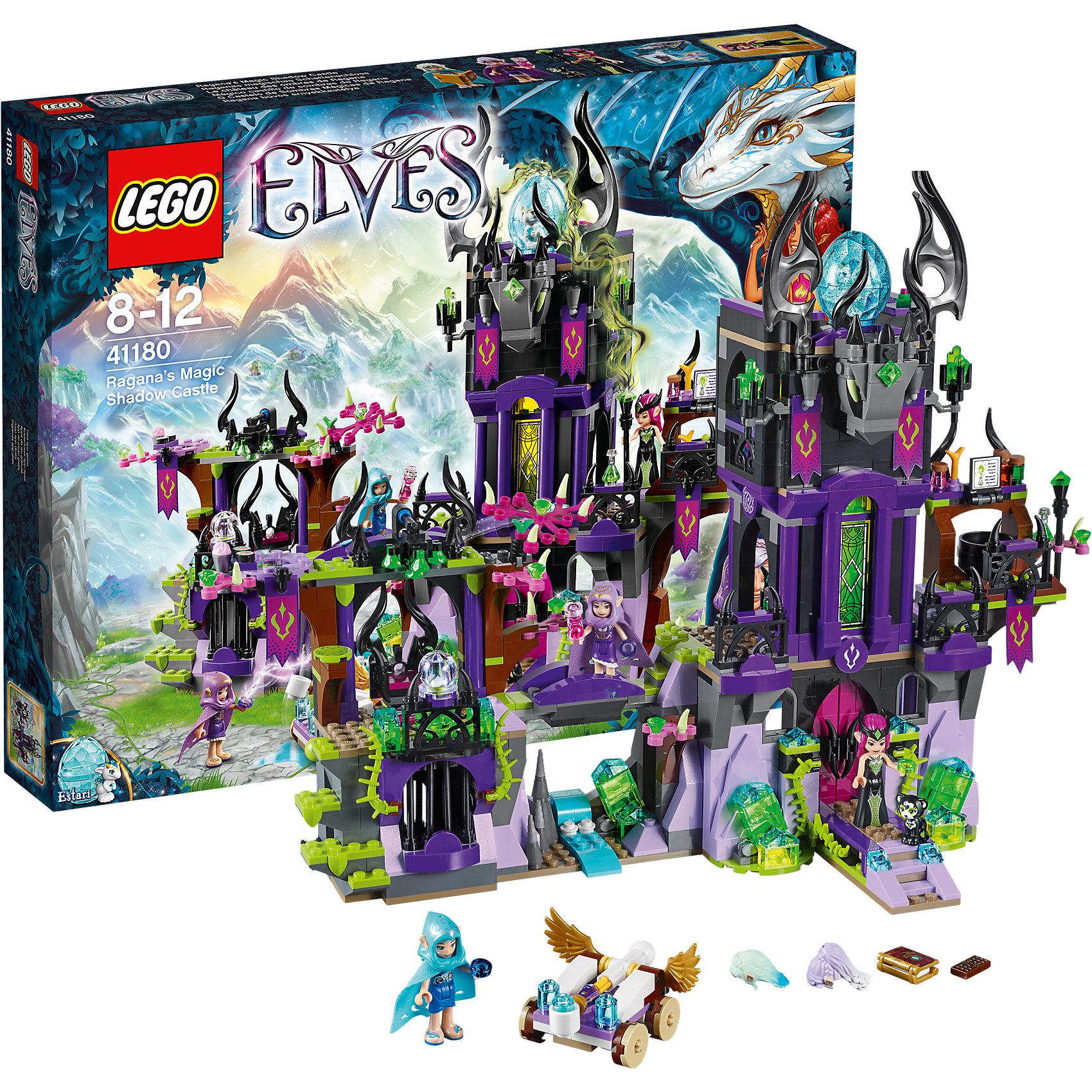 LEGO Elves 41180: Замок теней РаганыПластмассовые конструкторы<br>Конструкторы из серии LEGO Elves полюбились многим современным детям, поэтому набор Лего, из которого можно собрать разные сюжеты про героев и её приключения, обязательно порадует ребенка. Такие игрушки помогают детям развивать воображение, мелкую моторику, логику и творческое мышление.<br>Набор состоит из множества деталей, с помощью которых можно  собрать декорации для игр, а также в нем есть фигурки любимых персонажей! С таким комплектом можно придумать множество игр!<br><br>Дополнительная информация:<br><br>цвет: разноцветный;<br>размер коробки: 48 х 7 х 38 см;<br>вес: 1369 г;<br>материал: пластик;<br>количество деталей: 1014.<br><br>Набор Замок теней Раганы от бренда LEGO Elves можно купить в нашем магазине.<br><br>Ширина мм: 472<br>Глубина мм: 375<br>Высота мм: 76<br>Вес г: 1415<br>Возраст от месяцев: 96<br>Возраст до месяцев: 144<br>Пол: Женский<br>Возраст: Детский<br>SKU: 4641234