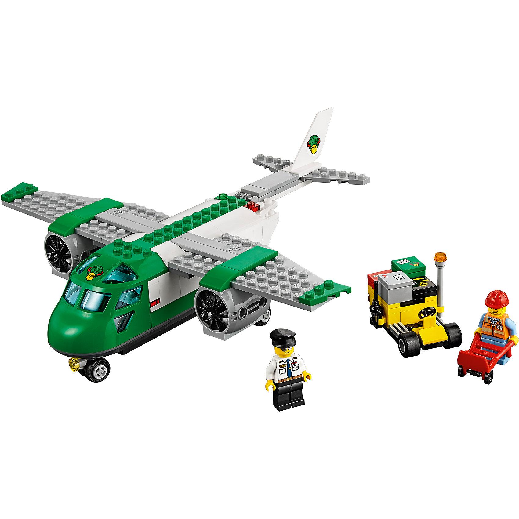 LEGO City 60101: Грузовой самолётПомоги работникам аэропорта вовремя доставить груз в нужное место! С помощью тележки загрузи посылки в служебный автомобиль, направь их к задней части самолета. Открой люк и помести коробки грузовой отсек самолета. Убедись, что люк закрыт, прежде чем дать разрешение на взлет! Отправь самолет на взлетную полосу и отправляйся в путь, доставь долгожданные посылки жителям Лего Города!<br><br>LEGO City (ЛЕГО Сити) - серия детских конструкторов ЛЕГО, с помощью которого ваш ребенок может погрузиться в мир мегаполиса. Эта серия поможет ребенку понять, как устроена жизнь города, какие функции выполняют те или иные люди и техника. Предлагает на выбор огромное множество профессий, сфер деятельности и ситуаций, связанных с ними.<br><br>Дополнительная информация:<br><br>- Конструкторы ЛЕГО развивают усидчивость, внимание, фантазию и мелкую моторику. <br>- 2 минифигурки.<br>- Количество деталей: 157. <br>- Комплектация: 2 минифигурки рабочих, самолет, служебный автомобиль, аксессуары.<br>- Колеса служебного автомобиля и тележки подвижны.<br>- У самолета открываются и закрываются дверь и задний люк.<br>- Серия ЛЕГО Сити (LEGO City).<br>- Материал: пластик.<br>- Размер упаковки: 26х6х19 см.<br>- Вес: 0.42 кг.<br><br>Конструктор LEGO City 60101: Грузовой самолёт можно купить в нашем магазине.<br><br>Ширина мм: 264<br>Глубина мм: 192<br>Высота мм: 66<br>Вес г: 362<br>Возраст от месяцев: 60<br>Возраст до месяцев: 144<br>Пол: Мужской<br>Возраст: Детский<br>SKU: 4641236