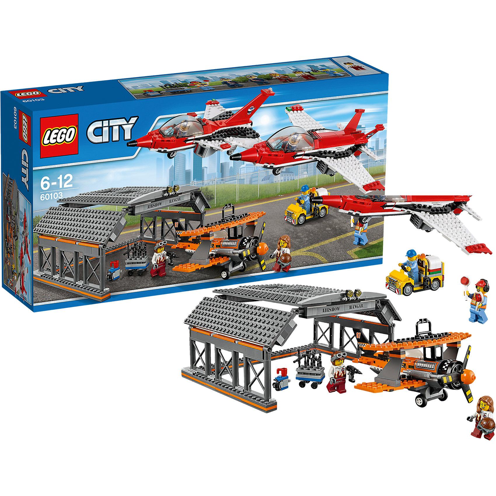 LEGO City 60103: АвиашоуLEGO<br>Устрой настоящее авиашоу с этим замечательным конструктором ЛЕГО! В просторном ангаре тебя ждут два современных самолета, и один раритетный. После полета обязательно попроси механика провести проверку - все ли системы в норме. <br><br>LEGO City (ЛЕГО Сити) - серия детских конструкторов ЛЕГО, с помощью которого ваш ребенок может погрузиться в мир мегаполиса. Эта серия поможет ребенку понять, как устроена жизнь города, какие функции выполняют те или иные люди и техника. Предлагает на выбор огромное множество профессий, сфер деятельности и ситуаций, связанных с ними.<br><br>Дополнительная информация:<br><br>- Конструкторы ЛЕГО развивают усидчивость, внимание, фантазию и мелкую моторику. <br>- 6 минифигурок.<br>- Количество деталей: 670. <br>- Комплектация: 6 минифигурок, ангар, 3 самолета, служебный автомобиль, аксессуары.<br>- Колеса самолетов подвижны.<br>- У раритетного самолета вращается пропеллер.<br>- Серия ЛЕГО Сити (LEGO City).<br>- Материал: пластик.<br>- Размер упаковки: 54х12х28 см.<br>- Вес: 1.485 кг.<br><br>Конструктор LEGO City 60103: Авиашоу можно купить в нашем магазине.<br><br>Ширина мм: 540<br>Глубина мм: 279<br>Высота мм: 121<br>Вес г: 1516<br>Возраст от месяцев: 72<br>Возраст до месяцев: 144<br>Пол: Мужской<br>Возраст: Детский<br>SKU: 4641238