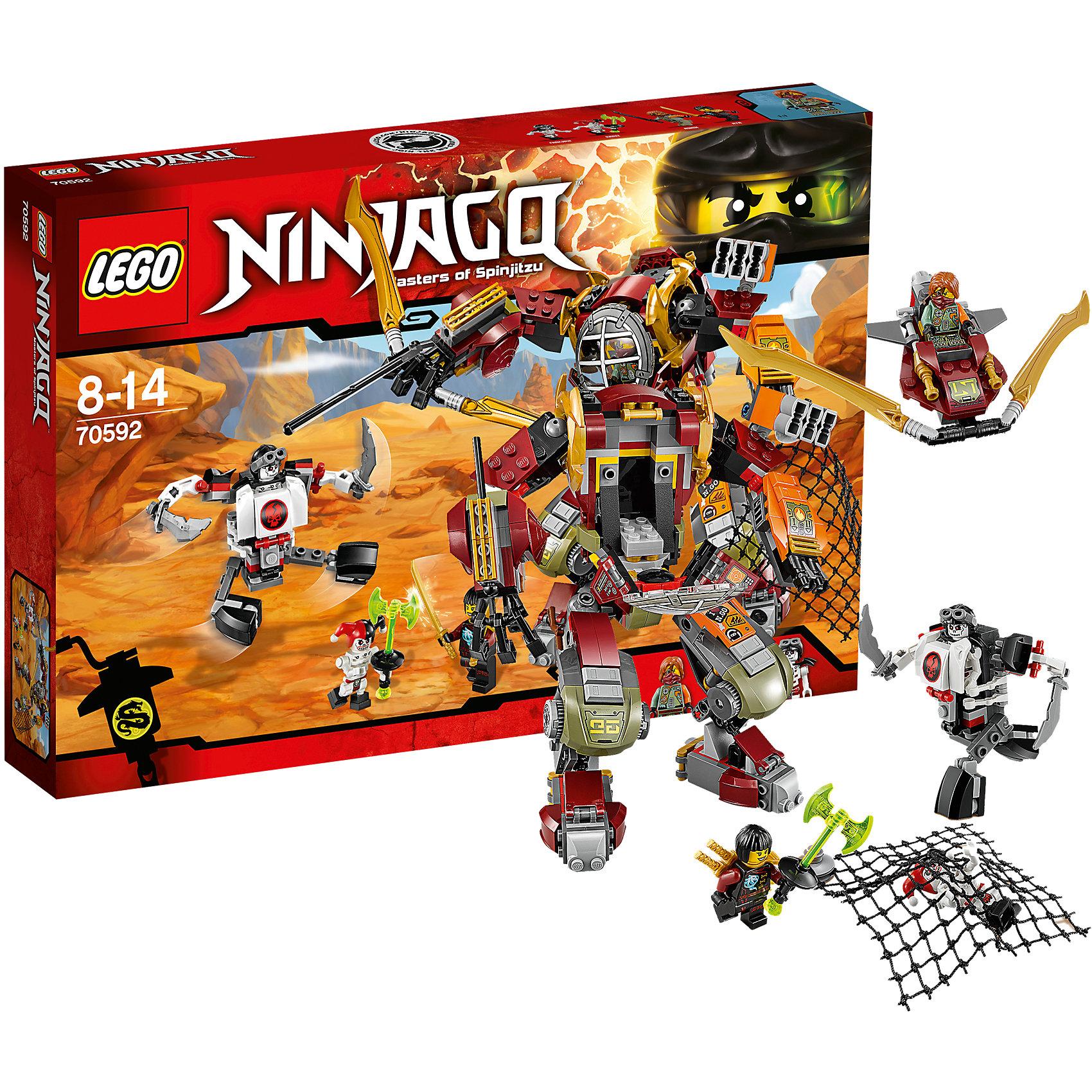 LEGO NINJAGO 70592: Робот-спасательКонструкторы и приключения обожает множество современных мальчишек, поэтому набор Лего, из которого можно собрать интересный сюжет, обязательно порадует ребенка. Такие игрушки помогают детям развивать воображение, мелкую моторику, логику и творческое мышление.<br>Набор состоит из множества деталей, с помощью которых можно  собрать декорации для игр, а также в нем есть фигурки любимых персонажей! С таким комплектом можно придумать множество игр!<br><br>Дополнительная информация:<br><br>цвет: разноцветный;<br>размер коробки: 38 х 6 х 26 см;<br>вес: 568 г;<br>материал: пластик;<br>количество деталей: 439.<br><br>Набор Робот-спасатель от бренда LEGO NINJAGO можно купить в нашем магазине.<br><br>Ширина мм: 384<br>Глубина мм: 266<br>Высота мм: 60<br>Вес г: 569<br>Возраст от месяцев: 96<br>Возраст до месяцев: 168<br>Пол: Мужской<br>Возраст: Детский<br>SKU: 4641243