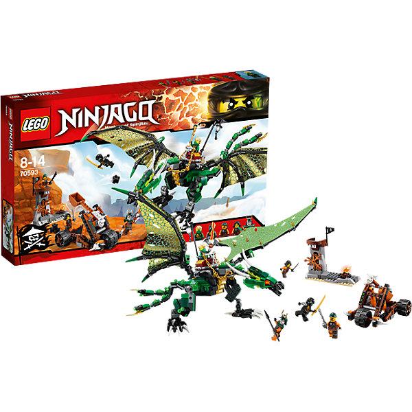 LEGO NINJAGO 70593: Зелёный ДраконКонструкторы Лего<br>Приключения и конструкторы обожает множество современных мальчишек, поэтому набор Лего, из которого можно собрать интересный сюжет, обязательно порадует ребенка. Такие игрушки помогают детям развивать воображение, мелкую моторику, логику и творческое мышление.<br>Набор состоит из множества деталей, с помощью которых можно  собрать декорации для игр, а также в нем есть фигурки любимых персонажей! С таким комплектом можно придумать множество игр!<br><br>Дополнительная информация:<br><br>цвет: разноцветный;<br>размер коробки: 48 х 6 х 28 см;<br>вес: 756 г;<br>материал: пластик;<br>количество деталей: 567.<br><br>Набор Зелёный Дракон от бренда LEGO NINJAGO можно купить в нашем магазине.<br><br>Ширина мм: 482<br>Глубина мм: 284<br>Высота мм: 68<br>Вес г: 791<br>Возраст от месяцев: 96<br>Возраст до месяцев: 168<br>Пол: Мужской<br>Возраст: Детский<br>SKU: 4641244