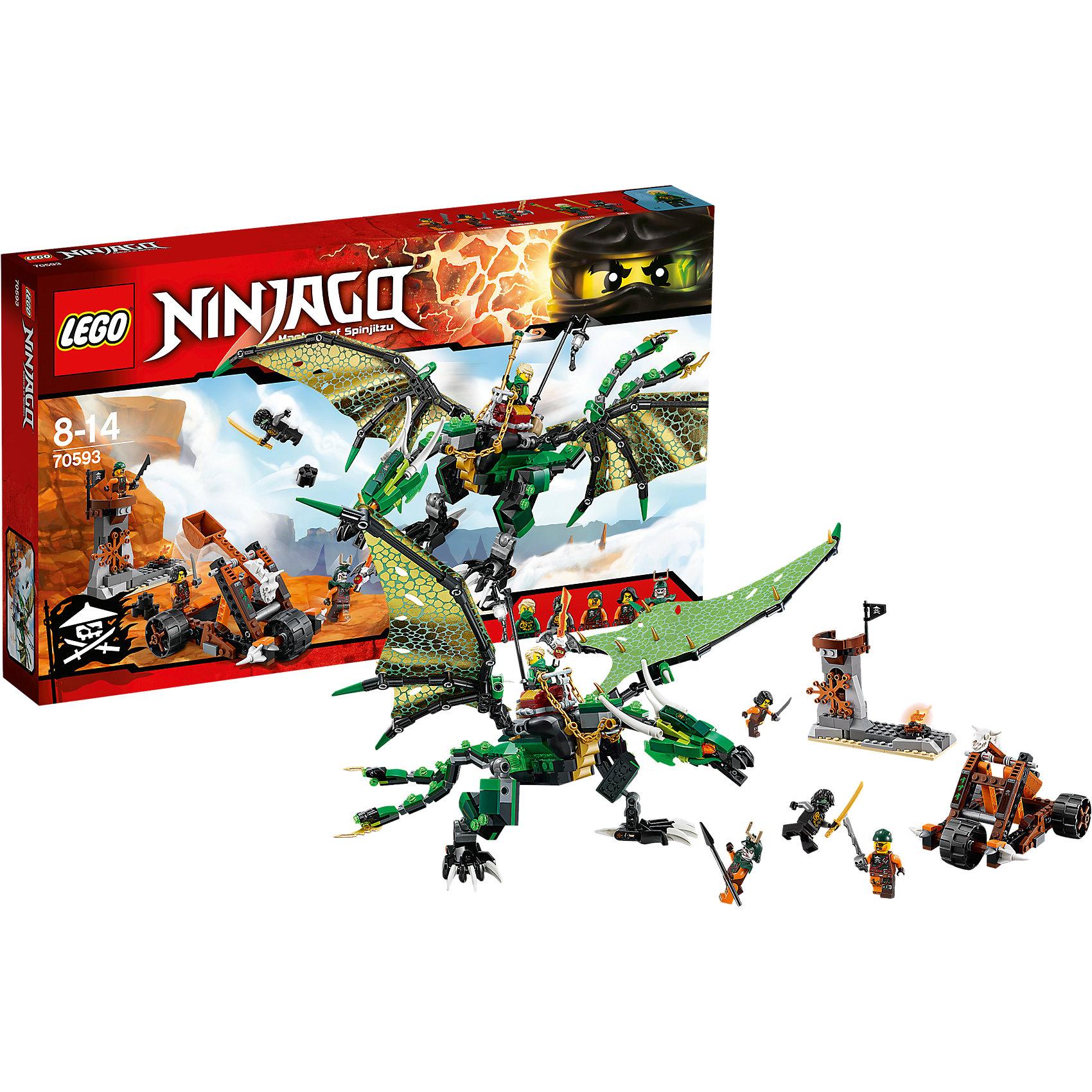 LEGO NINJAGO 70593: Зелёный ДраконПластмассовые конструкторы<br>Приключения и конструкторы обожает множество современных мальчишек, поэтому набор Лего, из которого можно собрать интересный сюжет, обязательно порадует ребенка. Такие игрушки помогают детям развивать воображение, мелкую моторику, логику и творческое мышление.<br>Набор состоит из множества деталей, с помощью которых можно  собрать декорации для игр, а также в нем есть фигурки любимых персонажей! С таким комплектом можно придумать множество игр!<br><br>Дополнительная информация:<br><br>цвет: разноцветный;<br>размер коробки: 48 х 6 х 28 см;<br>вес: 756 г;<br>материал: пластик;<br>количество деталей: 567.<br><br>Набор Зелёный Дракон от бренда LEGO NINJAGO можно купить в нашем магазине.<br><br>Ширина мм: 482<br>Глубина мм: 284<br>Высота мм: 68<br>Вес г: 791<br>Возраст от месяцев: 96<br>Возраст до месяцев: 168<br>Пол: Мужской<br>Возраст: Детский<br>SKU: 4641244