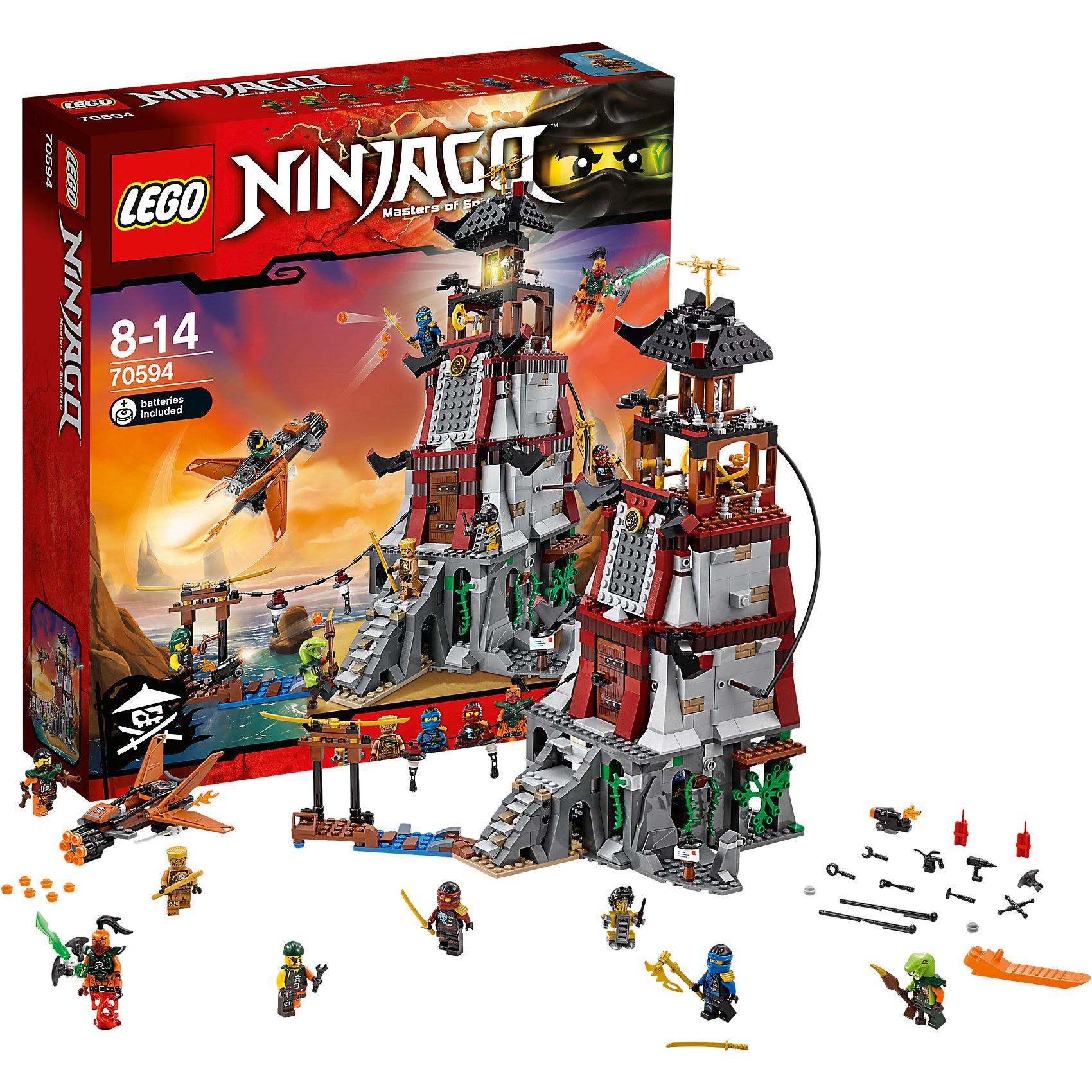 LEGO NINJAGO 70594: Осада маякаПластмассовые конструкторы<br>Характеристики:<br><br>• Предназначение: набор для конструирования, сюжетно-ролевые игры<br>• Пол: для мальчиков<br>• Материал: пластик<br>• Цвет: серый, коричневый, черный, зеленый, желтый<br>• Серия LEGO: NINJAGO<br>• Размер упаковки (Д*Ш*В): 37,5*10*32,5 см<br>• Вес: 1 кг 300 г<br>• Количество деталей: 767 шт.<br>• Наличие двигающихся, вращающихся и открывающихся элементов<br>• Комплектация: детали для маяка, ловушек, тюремной камеры, 8 мини-фигурок<br>• Батарейки: 2 шт. типа LR41 (предусмотрены в комплекте)<br><br>LEGO NINJAGO 70594: Осада маяка – набор от всемирно известного производителя конструкторов для детей всех возрастных категорий. LEGO NINJAGO 70594: Осада маяка является набором серии NINJAGO, который может быть как базовым, так и дополнительным к другим моделям серии. Набор включает в себя детали для сборки маяка со множеством ловушек и тюремной камерой, а также 8 мини-фигурок. В комплекте предусмотрена яркая инструкция, которая научит вашего ребенка действовать по образцу. <br>Игры с конструкторами LEGO развивают усидчивость, внимательность, мелкую моторику рук, способствуют формированию конструкторского мышления. С набором LEGO NINJAGO 70594: Осада маяка ваш ребенок сможет придумывать целые сюжетные истории, развивая тем самым воображение и обогащая свой словарный запас. <br><br>LEGO NINJAGO 70594: Осада маяка можно купить в нашем интернет-магазине.<br><br>Ширина мм: 378<br>Глубина мм: 352<br>Высота мм: 100<br>Вес г: 1279<br>Возраст от месяцев: 96<br>Возраст до месяцев: 168<br>Пол: Мужской<br>Возраст: Детский<br>SKU: 4641245