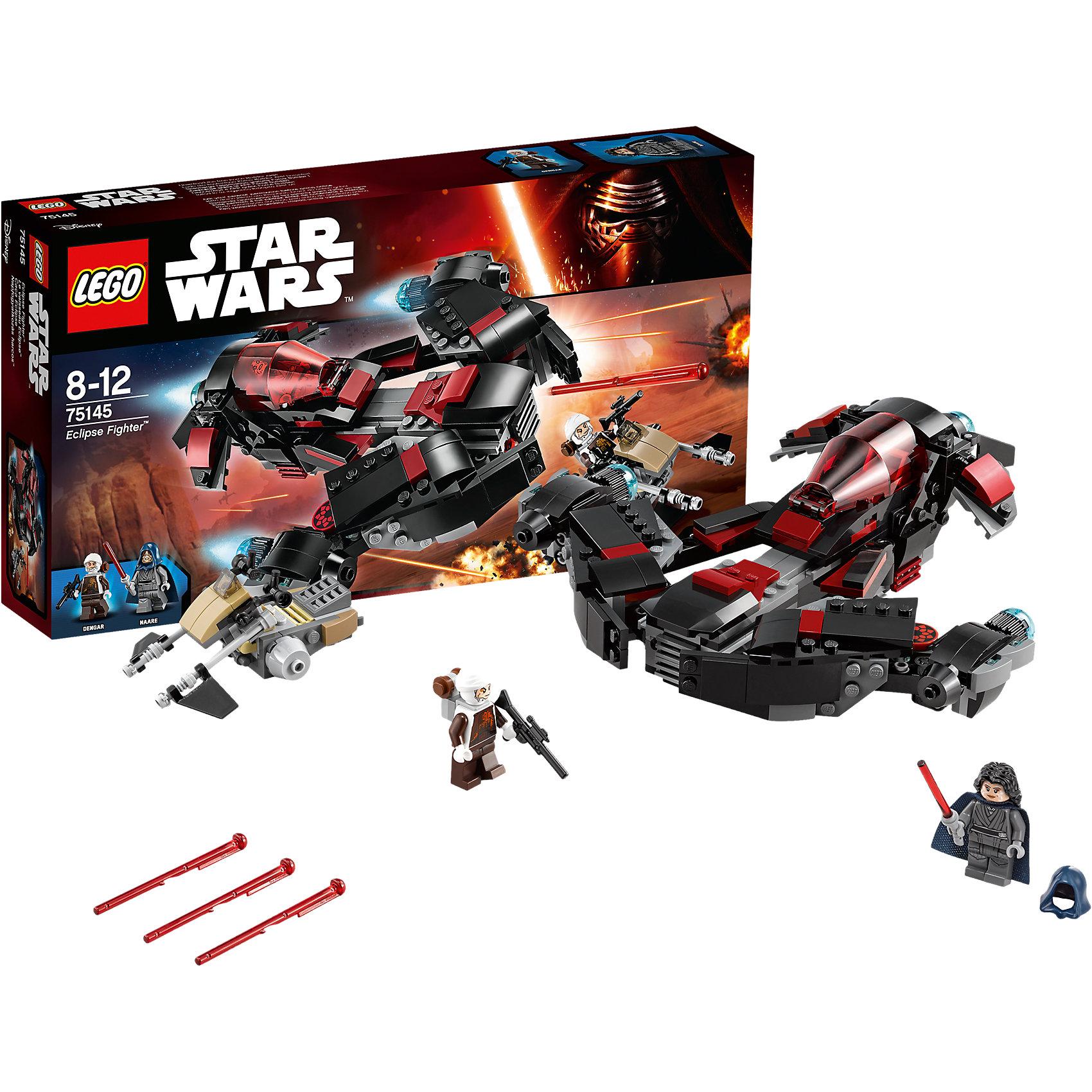 LEGO Star Wars 75145: Истребитель ЗатменияПластмассовые конструкторы<br>Фильм Звездные войны и его героев любят множество современных мальчишек, поэтому набор Лего Star Wars, из которого можно собрать интересный сюжет по этому фильму, обязательно порадует ребенка. Такие игрушки помогают детям развивать воображение, мелкую моторику, логику и творческое мышление.<br>Набор состоит из множества деталей конструктора - с их помощью можно собрать декорации для игр, транспорт, а также в нем есть фигурки любимых персонажей! С таким комплектом можно придумать множество игр!<br><br>Дополнительная информация:<br><br>цвет: разноцветный;<br>размер коробки: 35 х 6 х 19 см;<br>вес: 476 г;<br>материал: пластик;<br>количество деталей: 363.<br><br>Набор Истребитель Затмения от бренда LEGO Star Wars можно купить в нашем магазине.<br><br>Ширина мм: 356<br>Глубина мм: 195<br>Высота мм: 63<br>Вес г: 474<br>Возраст от месяцев: 96<br>Возраст до месяцев: 144<br>Пол: Мужской<br>Возраст: Детский<br>SKU: 4641247