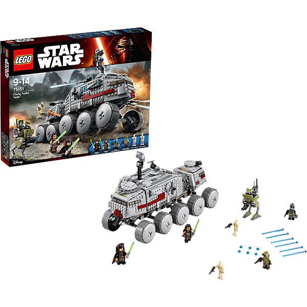 LEGO Star Wars 75151: Турботанк КлоновПластмассовые конструкторы<br>Какой ребенок не интересуют темой космоса?! Фильм Звездные войны и его героев любят множество современных мальчишек, поэтому набор Лего Star Wars, из которого можно собрать интересный сюжет по этому фильму, обязательно порадует ребенка. Такие игрушки помогают детям развивать воображение, мелкую моторику, логику и творческое мышление.<br>Набор состоит из множества деталей конструктора - с их помощью можно собрать декорации для игр, транспорт, а также в нем есть фигурки любимых персонажей! С таким комплектом можно придумать множество игр!<br><br>Дополнительная информация:<br><br>цвет: разноцветный;<br>размер коробки: 48 х 7 х 38 см;<br>вес: 1430 г;<br>материал: пластик;<br>количество деталей: 903.<br><br>Набор Турботанк Клонов от бренда LEGO Star Wars можно купить в нашем магазине.<br><br>Ширина мм: 481<br>Глубина мм: 373<br>Высота мм: 73<br>Вес г: 1413<br>Возраст от месяцев: 108<br>Возраст до месяцев: 168<br>Пол: Мужской<br>Возраст: Детский<br>SKU: 4641250