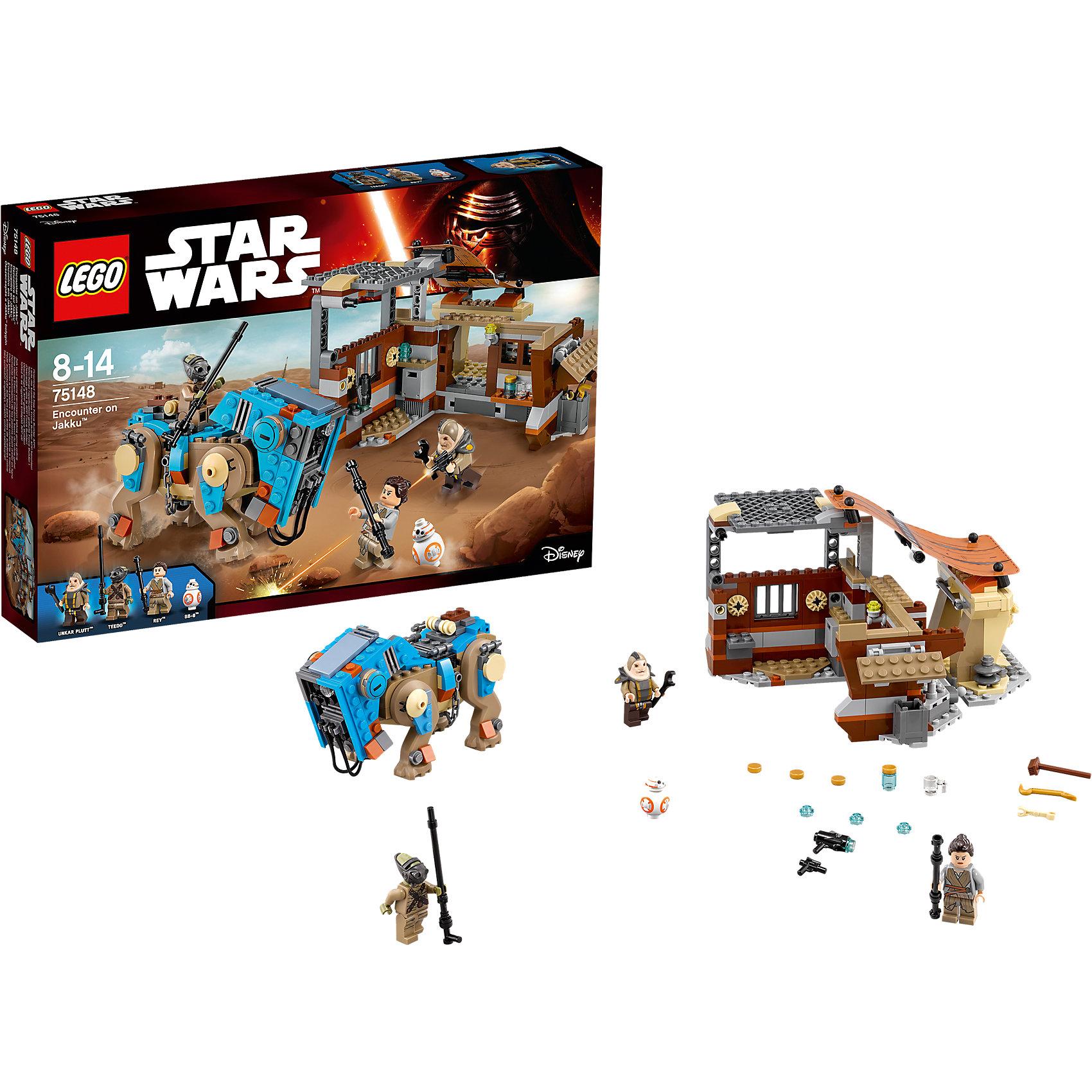 LEGO Star Wars 75148: Столкновение на ДжаккуПластмассовые конструкторы<br>Фильм Звездные войны и его героев любят множество современных мальчишек, поэтому набор Лего Star Wars, из которого можно собрать интересный сюжет по этому фильму, обязательно порадует ребенка. Такие игрушки помогают детям развивать воображение, мелкую моторику, логику и творческое мышление.<br>Набор состоит из множества деталей конструктора - с их помощью можно собрать декорации для игр, транспорт, а также в нем есть фигурки любимых персонажей! С таким комплектом можно придумать множество игр!<br><br>Дополнительная информация:<br><br>цвет: разноцветный;<br>размер коробки: 38 х 6 х 26 см;<br>вес: 633 г;<br>материал: пластик;<br>количество деталей: 530.<br><br>Набор Столкновение на Джакку от бренда LEGO Star Wars можно купить в нашем магазине.<br><br>Ширина мм: 385<br>Глубина мм: 263<br>Высота мм: 63<br>Вес г: 690<br>Возраст от месяцев: 96<br>Возраст до месяцев: 168<br>Пол: Мужской<br>Возраст: Детский<br>SKU: 4641251