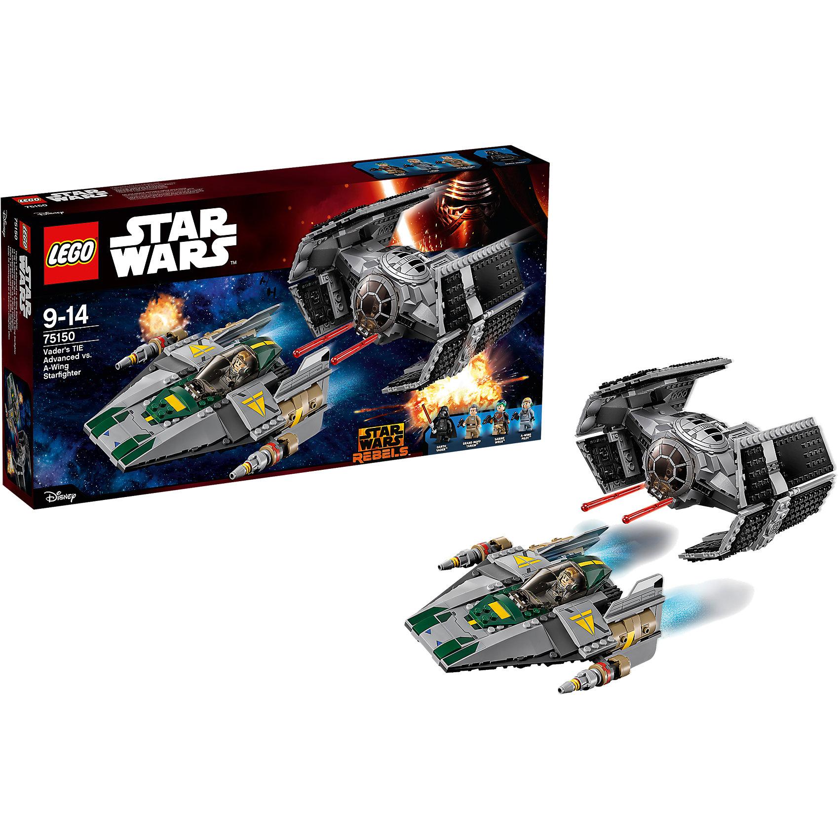 LEGO Star Wars 75150: Усовершенствованный истребитель СИД Дарта Вейдера против Звёздного Истребителя A-WingПластмассовые конструкторы<br>Какой ребенок не интересуют темой космоса?! Фильм Звездные войны и его героев любят множество современных мальчишек, поэтому набор Лего Star Wars, из которого можно собрать интересный сюжет по этому фильму, обязательно порадует ребенка. Такие игрушки помогают детям развивать воображение, мелкую моторику, логику и творческое мышление.<br>Набор состоит из множества деталей конструктора - с их помощью можно собрать декорации для игр, транспорт, а также в нем есть фигурки любимых персонажей! С таким комплектом можно придумать множество игр!<br><br>Дополнительная информация:<br><br>цвет: разноцветный;<br>размер коробки: 60 x 35 x 6 см;<br>вес: 1000 г;<br>материал: пластик;<br>количество деталей: 702.<br><br>Набор Усовершенствованный истребитель СИД Дарта Вейдера против Звёздного Истребителя A-Wing от бренда LEGO Star Wars можно купить в нашем магазине.<br><br>Ширина мм: 540<br>Глубина мм: 279<br>Высота мм: 83<br>Вес г: 1078<br>Возраст от месяцев: 108<br>Возраст до месяцев: 168<br>Пол: Мужской<br>Возраст: Детский<br>SKU: 4641252