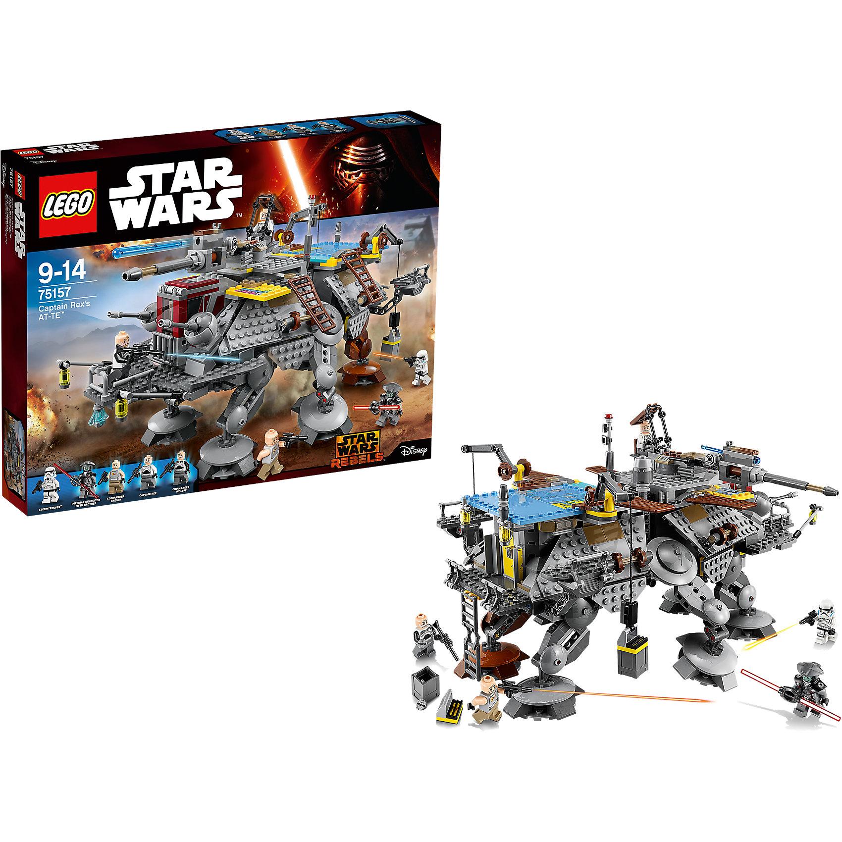 LEGO Star Wars 75157: Шагающий штурмовой вездеход AT-TE капитана РексаПластмассовые конструкторы<br>Фильм Звездные войны и его героев любят множество современных мальчишек, поэтому набор Лего Star Wars, из которого можно собрать интересный сюжет по этому фильму, обязательно порадует ребенка. Такие игрушки помогают детям развивать воображение, мелкую моторику, логику и творческое мышление.<br>Набор состоит из множества деталей конструктора - с их помощью можно собрать декорации для игр, транспорт, а также в нем есть фигурки любимых персонажей! С таким комплектом можно придумать множество игр!<br><br>Дополнительная информация:<br><br>цвет: разноцветный;<br>размер коробки: 48 х 7 х 38 см;<br>вес: 1412 г;<br>материал: пластик;<br>количество деталей: 972.<br><br>Набор Шагающий штурмовой вездеход AT-TE капитана Рекса от бренда LEGO Star Wars можно купить в нашем магазине.<br><br>Ширина мм: 481<br>Глубина мм: 378<br>Высота мм: 73<br>Вес г: 1575<br>Возраст от месяцев: 108<br>Возраст до месяцев: 168<br>Пол: Мужской<br>Возраст: Детский<br>SKU: 4641253