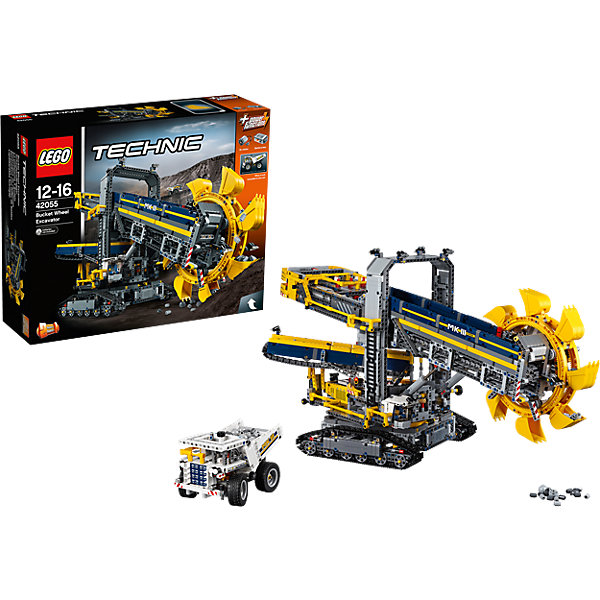 LEGO Technic 42055: Роторный экскаваторПластмассовые конструкторы<br>Характеристики:<br><br>• Предназначение: набор для конструирования, сюжетно-ролевые игры<br>• Пол: для мальчиков<br>• Материал: пластик<br>• Цвет: черный, серый, желтый, синий<br>• Серия LEGO: Technic<br>• Размер упаковки (Д*Ш*В): 58*17*48 см<br>• Вес: 5 кг 945 г<br>• Количество деталей: 3927 шт.<br>• Наличие двигающихся, вращающихся и открывающихся элементов<br>• Наличие мотора<br>• Комплектация: детали для конструирования 2-х моделей трактора<br>• Батарейки: 6 шт. типа АА (в комплекте не предусмотрены)<br><br>LEGO Technic 42055: Роторный экскаватор – набор от всемирно известного производителя конструкторов для детей всех возрастных категорий. LEGO Technic 42055: Роторный экскаватор является флагманским набором повышенной сложности серии Technic. Элементы конструктора позволяют сконструировать 2 модели: роторный экскаватор или дробильно-сортировочный завод. Разнообразие элементов позволят воссоздавать юному конструктору все реалистичные элементы и функции горного экскаватора: мостик для ручного управления, двигающиеся конвейерные ленты, регулируемая стрела, поднимающийся ковш и др. В комплекте предусмотрена яркая инструкция, которая научит вашего ребенка действовать по образцу. <br>Игры с конструкторами LEGO развивают усидчивость, внимательность, мелкую моторику рук, способствуют формированию конструкторского мышления. С набором LEGO Technic 42055: Роторный экскаватор ваш ребенок сможет придумывать целые сюжетные истории, развивая тем самым воображение и обогащая свой словарный запас. <br><br>LEGO Technic 42055: Роторный экскаватор можно купить в нашем интернет-магазине.<br><br>Ширина мм: 583<br>Глубина мм: 480<br>Высота мм: 175<br>Вес г: 5920<br>Возраст от месяцев: 144<br>Возраст до месяцев: 192<br>Пол: Мужской<br>Возраст: Детский<br>SKU: 4641256
