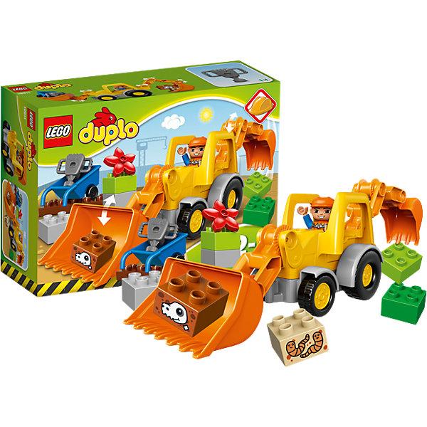 LEGO DUPLO 10811: Экскаватор-погрузчикПластмассовые конструкторы<br>Наборы LEGO DUPLO созданы специально для малышей. Разнообразную технику и  конструкторы обожает множество современных мальчишек, поэтому этот набор LEGO DUPLO обязательно порадует ребенка. Такие игрушки помогают детям развивать воображение, мелкую моторику, логику и творческое мышление.<br>Набор состоит из экскаватора-погрузчика, крупных деталей, фигурки человека! С таким комплектом можно придумать множество игр!<br><br>Дополнительная информация:<br><br>цвет: разноцветный;<br>размер коробки: 26 х 9 х 19 см;<br>вес: 389 г;<br>материал: пластик;<br>количество деталей: 19.<br><br>Набор Экскаватор-погрузчик от бренда LEGO DUPLO можно купить в нашем магазине.<br><br>Ширина мм: 263<br>Глубина мм: 190<br>Высота мм: 93<br>Вес г: 382<br>Возраст от месяцев: 24<br>Возраст до месяцев: 60<br>Пол: Мужской<br>Возраст: Детский<br>SKU: 4641258