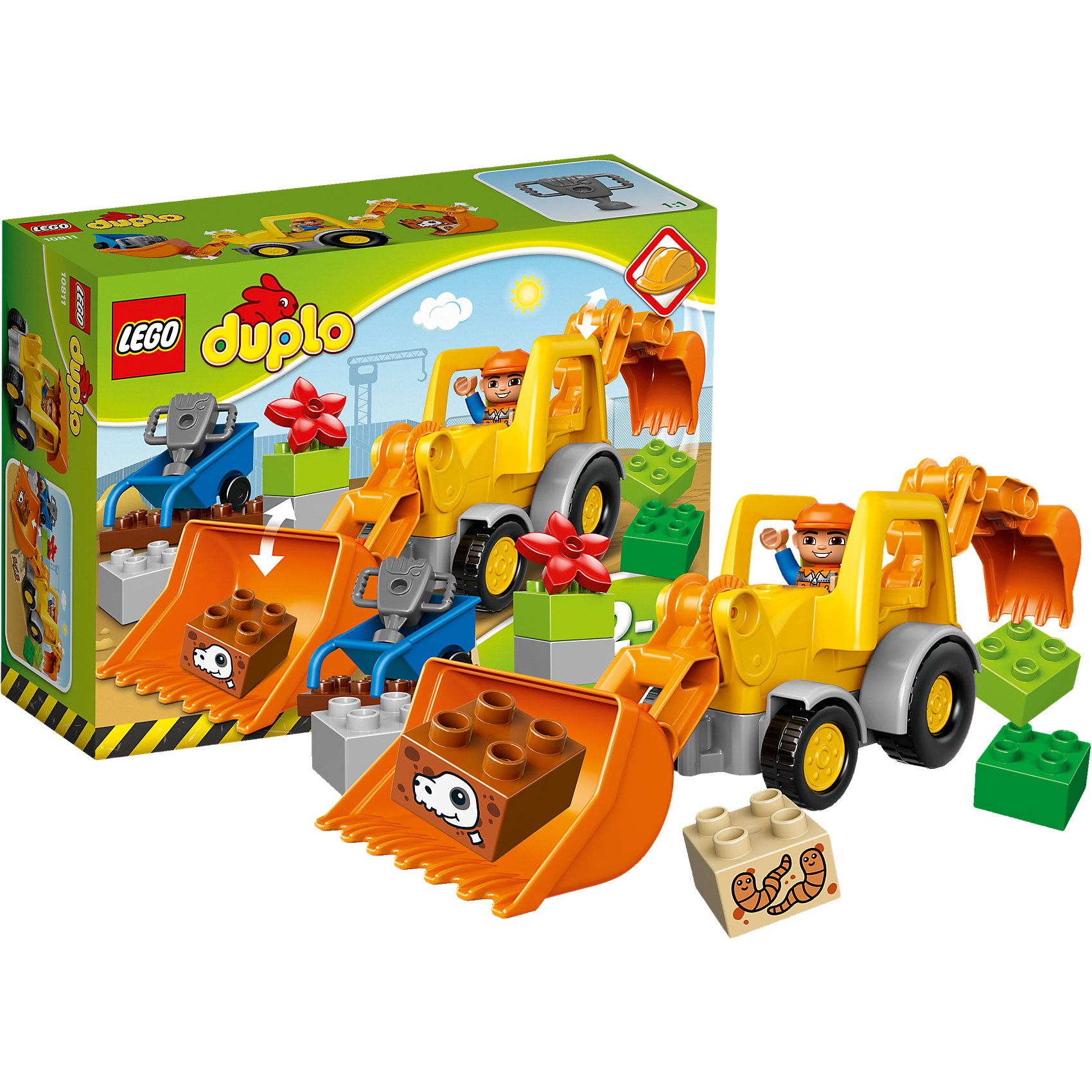 LEGO DUPLO 10811: Экскаватор-погрузчикНаборы LEGO DUPLO созданы специально для малышей. Разнообразную технику и  конструкторы обожает множество современных мальчишек, поэтому этот набор LEGO DUPLO обязательно порадует ребенка. Такие игрушки помогают детям развивать воображение, мелкую моторику, логику и творческое мышление.<br>Набор состоит из экскаватора-погрузчика, крупных деталей, фигурки человека! С таким комплектом можно придумать множество игр!<br><br>Дополнительная информация:<br><br>цвет: разноцветный;<br>размер коробки: 26 х 9 х 19 см;<br>вес: 389 г;<br>материал: пластик;<br>количество деталей: 19.<br><br>Набор Экскаватор-погрузчик от бренда LEGO DUPLO можно купить в нашем магазине.<br><br>Ширина мм: 265<br>Глубина мм: 192<br>Высота мм: 93<br>Вес г: 388<br>Возраст от месяцев: 24<br>Возраст до месяцев: 60<br>Пол: Мужской<br>Возраст: Детский<br>SKU: 4641258